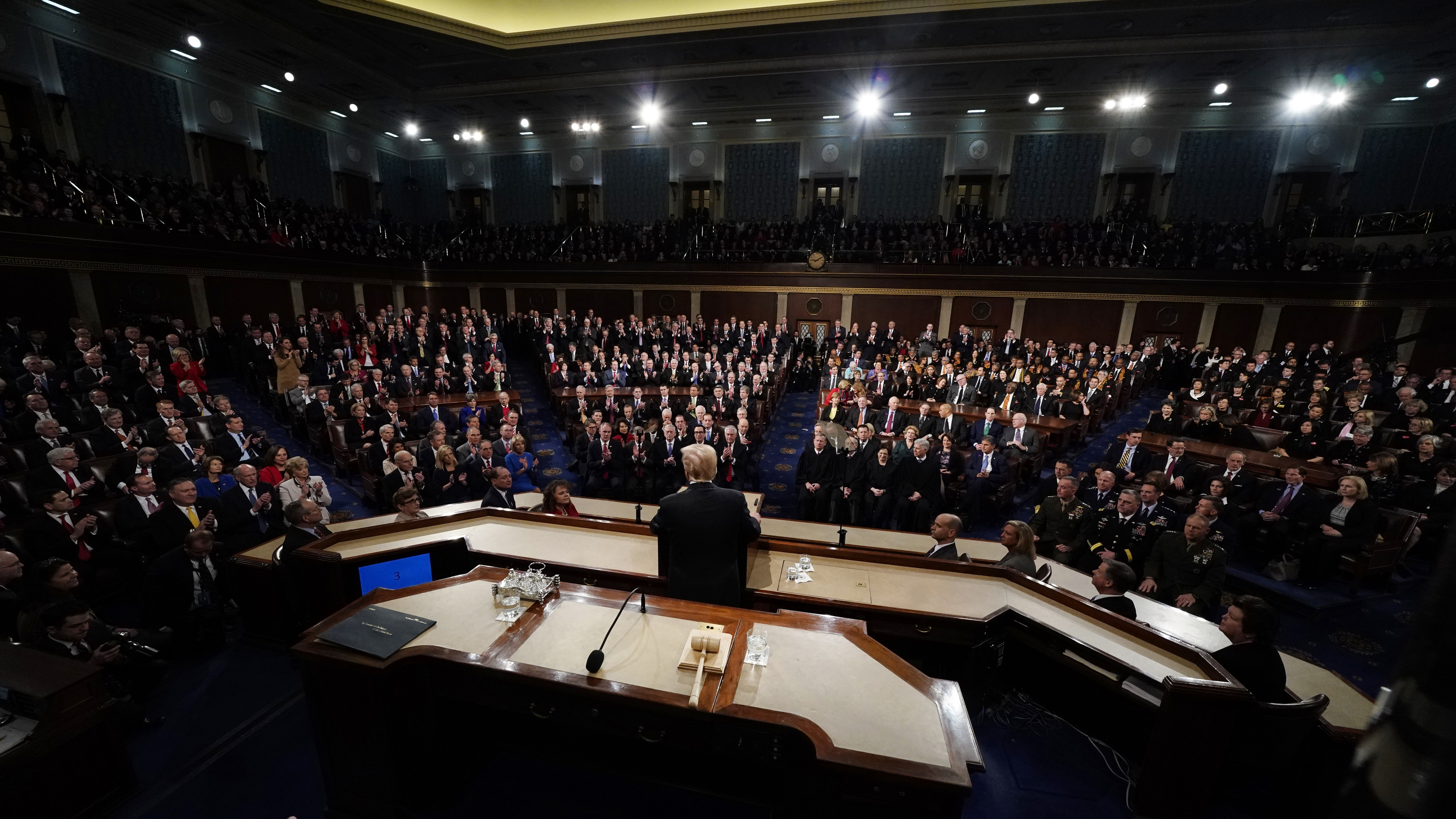 U.S. President Donald Trump delivers his State of the Union address to a joint session of the U.S. Congress on Capitol Hill in Washington, U.S. January 30, 2018.  - HP1EE1V0754T5