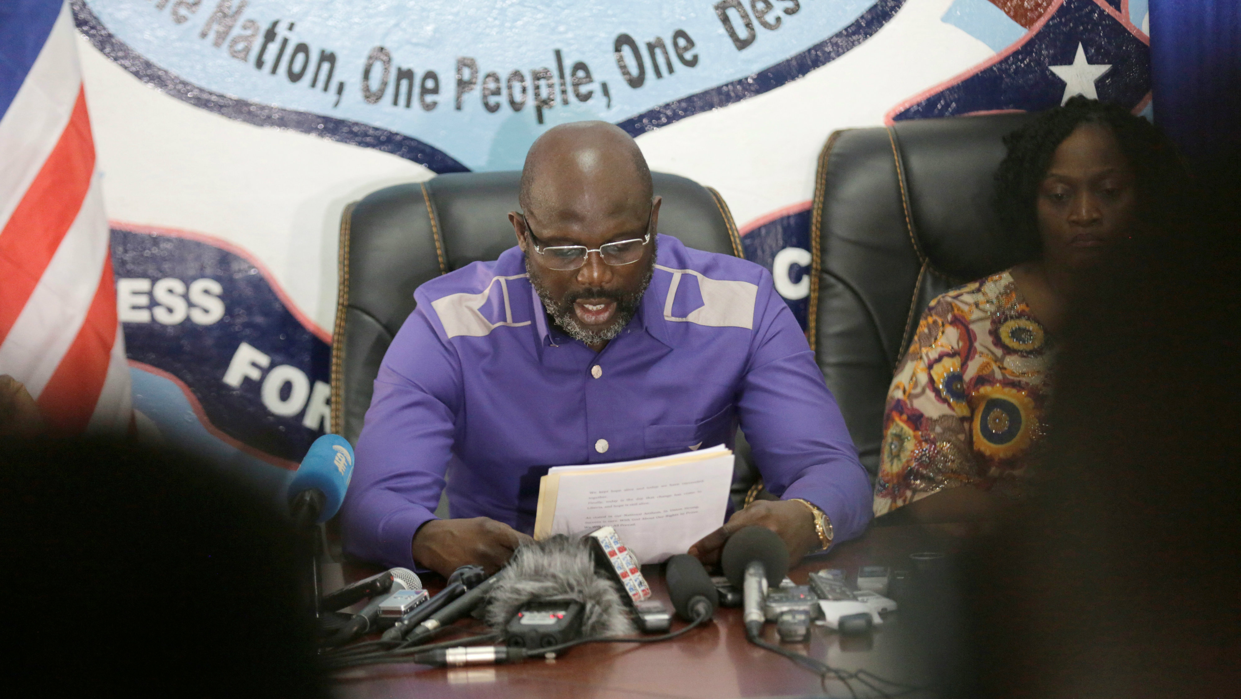 President-elect George Weah of Coalition for Democratic Change (CDC) attends a news conference at party headquarters, after the announcement of the presidential election results, in Monrovia, Liberia, December 30, 2017.