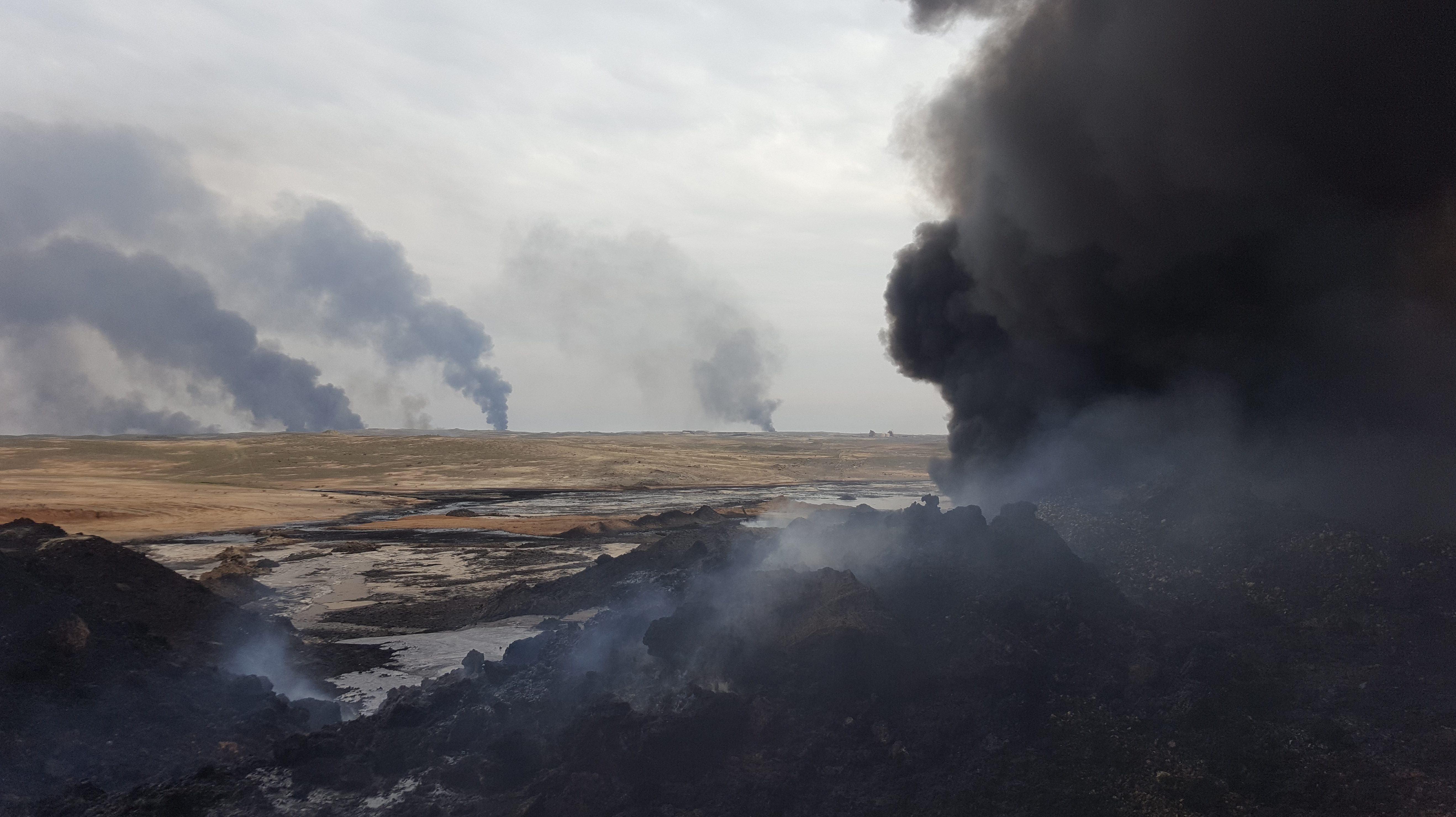 "ISIL routinely sets fire to oil infrastructure as they retreat. The air pollution is ""apocalyptic."""
