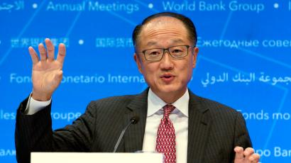 World Bank President Jim Yong Kim speaks during a news conference at World Bank/IMF Annual Meetings in Washington, Thursday, Oct. 12, 2017.