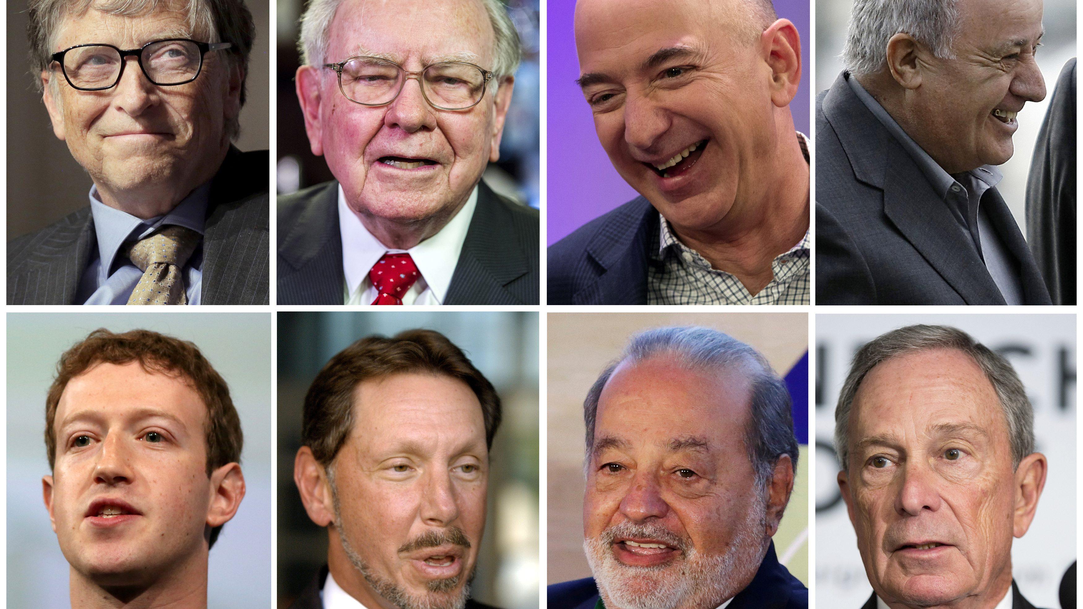 combination photo shows (top, L-R) Bill Gates, Warren Buffett, Jeff Bezos, Amancio Ortega, (bottom, L-R) Mark Zuckerberg, Larry Ellison, Carlos Slim and Michael Bloomberg.