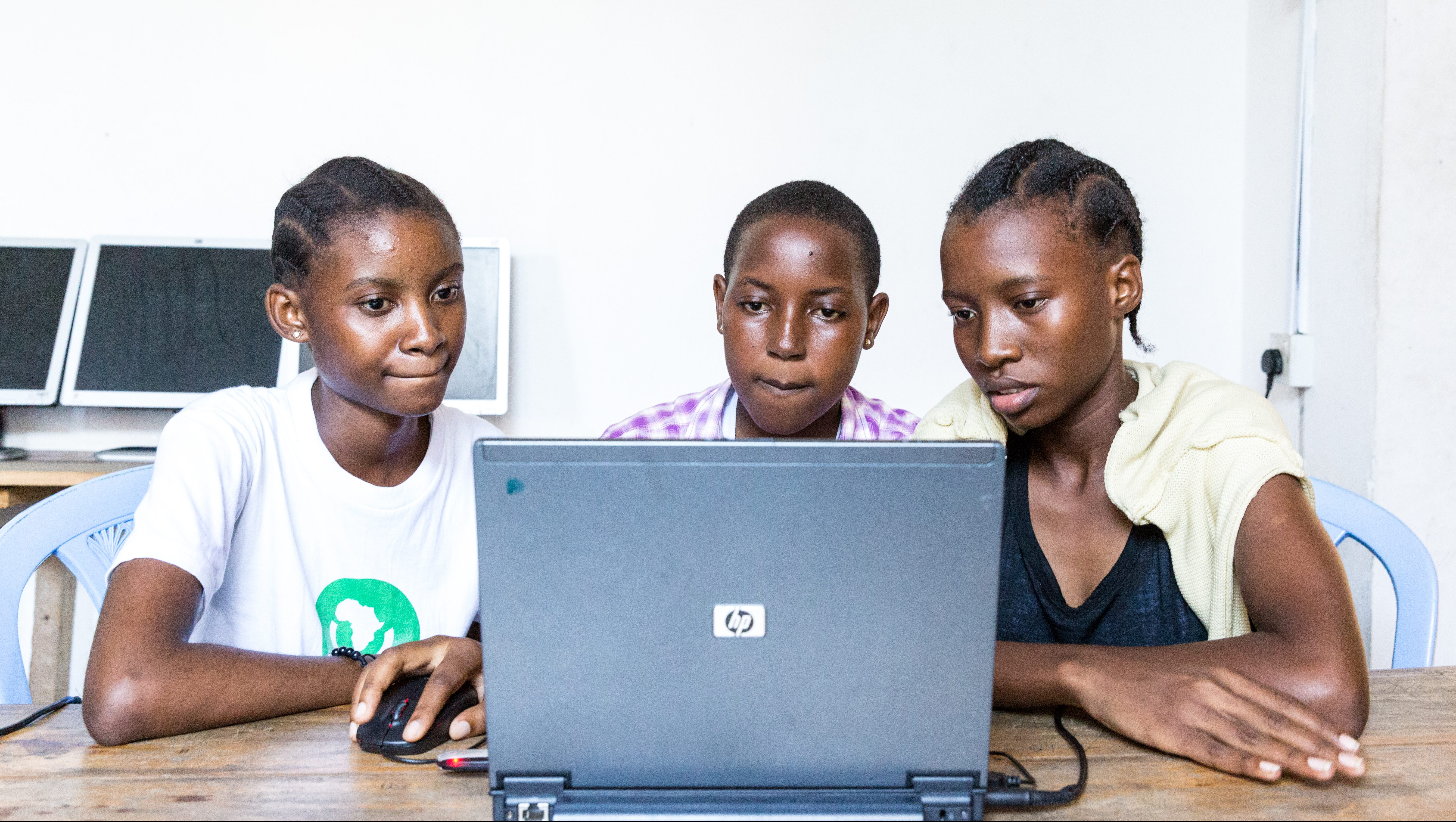 Teenagers coding at the Apps & Girls offices in Dar es Salaam.