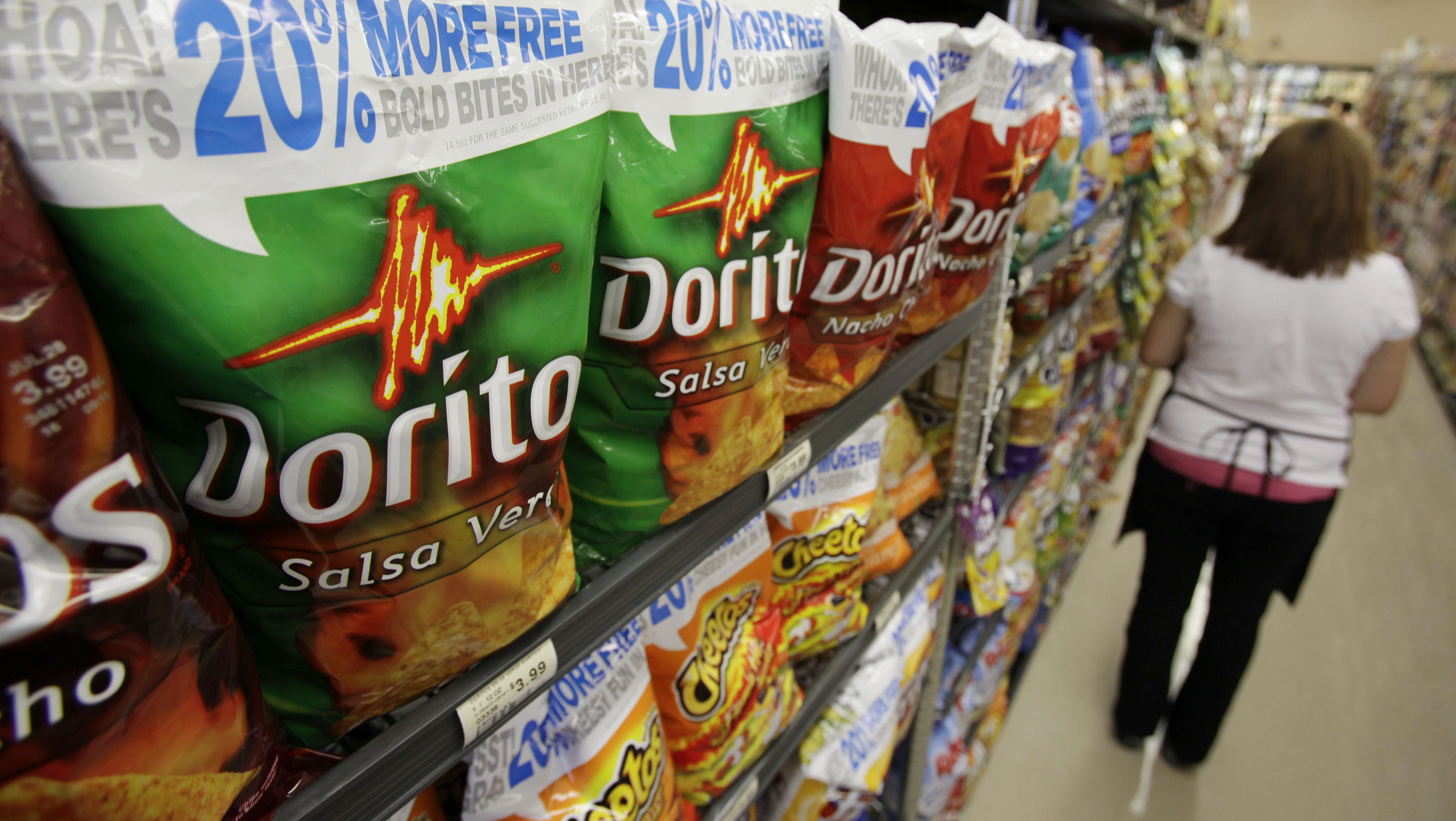 Doritos chips are seen on display at a market in Palo Alto, Calif., Tuesday, July 21, 2009.