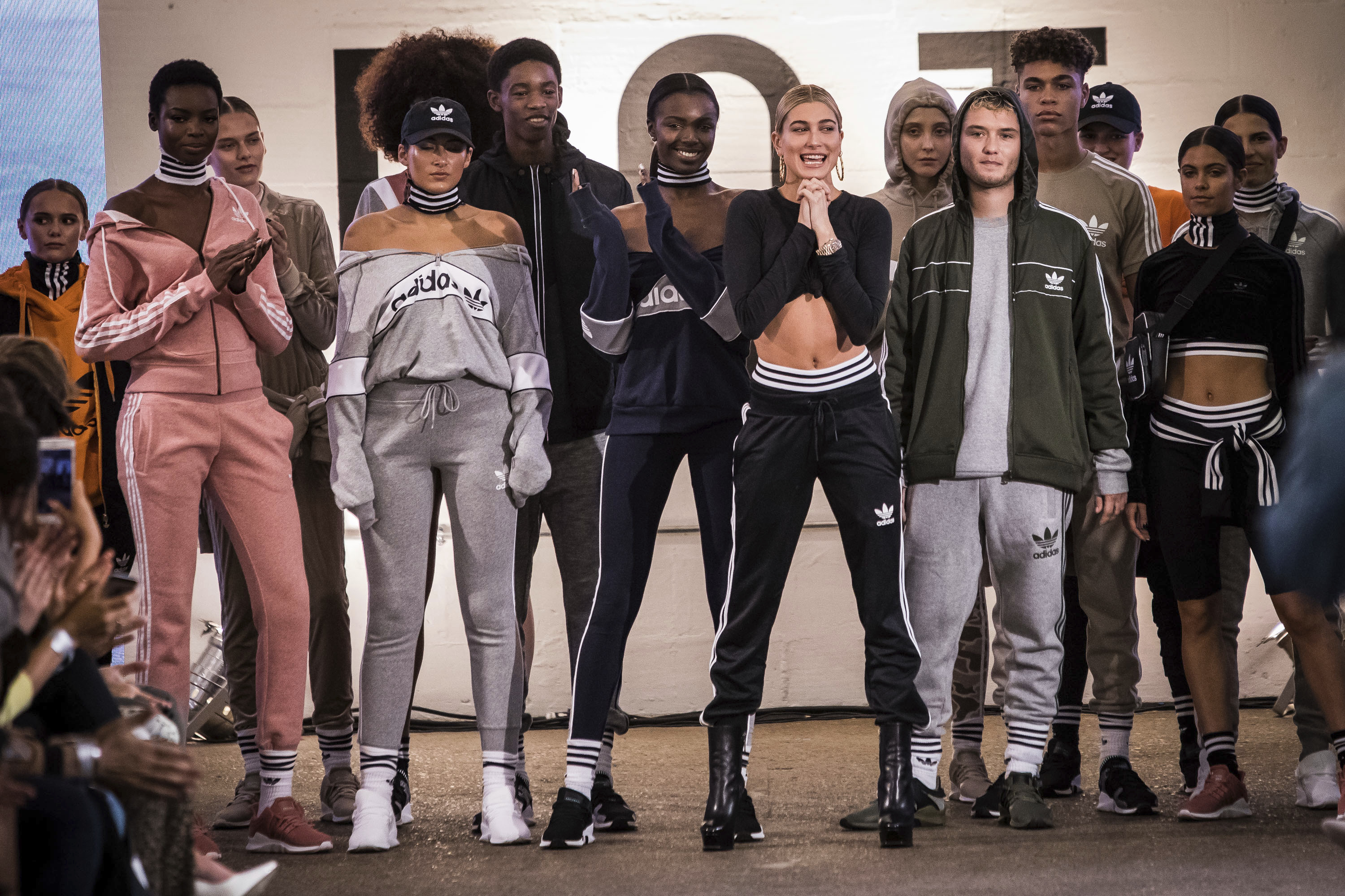 American model Hailey Rhode Baldwin greets guests after the Adidas x JD Sports 'Streets of EQT' Spring/Summer 2018 show at London Fashion Week in London, Friday, Sept. 15, 2017.(Photo by Vianney Le Caer/Invision/AP)