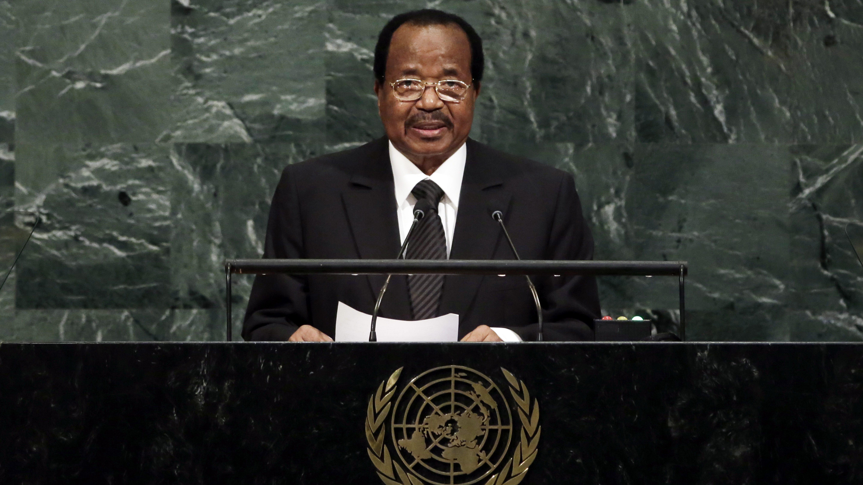 President Paul Biya of Cameroon addresses the United Nations General Assembly, at U.N. headquarters, Friday, Sept. 22, 2017. (AP Photo/Richard Drew)