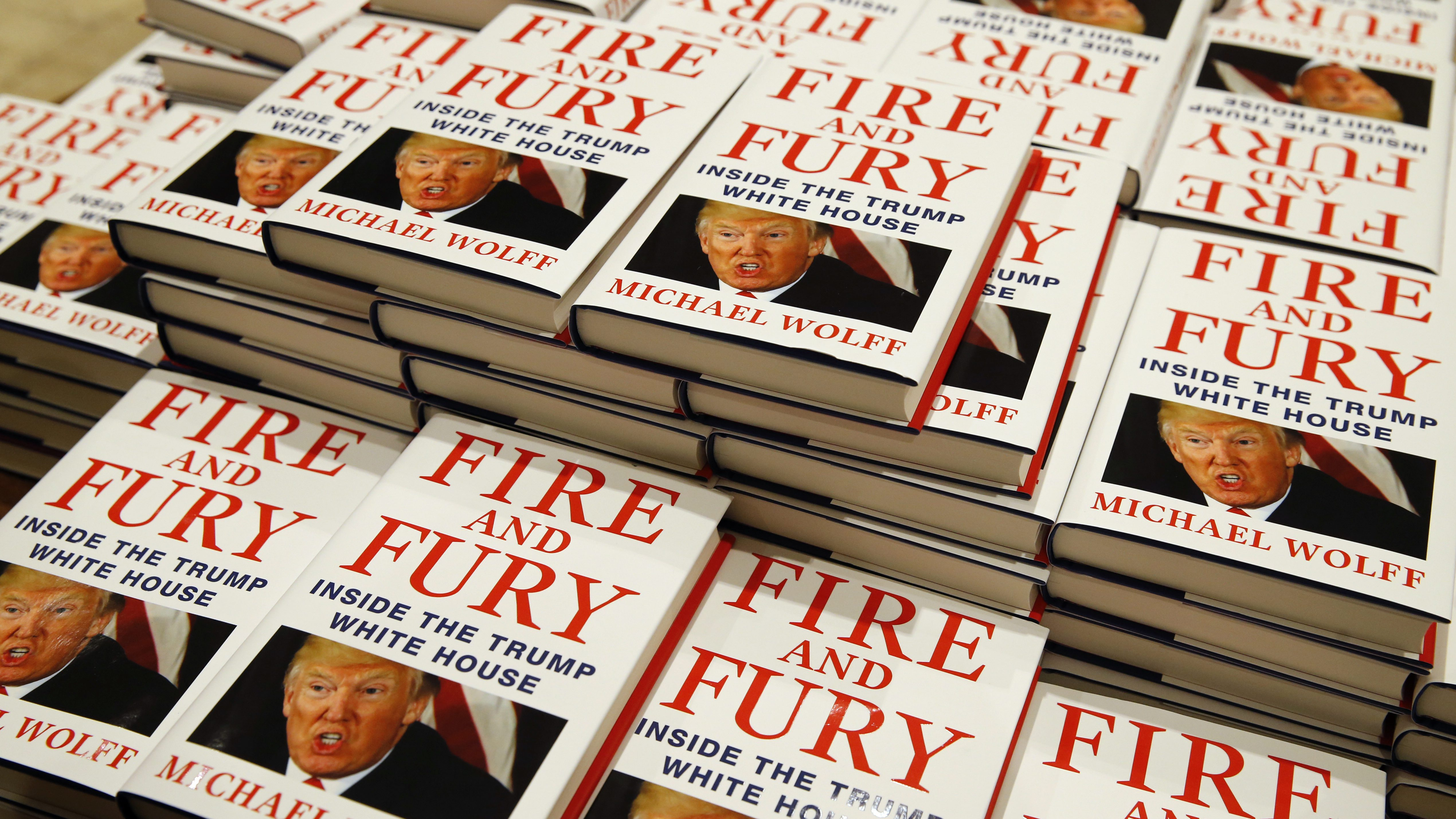 """Copies of Michael Wolff's """"Fire and Fury: Inside the Trump White House"""" on display as they go on sale at a bookshop, in London, Tuesday, Jan. 9, 2018. A trade magazine is reporting that over 1 million orders for the book have been placed in the United States alone. (AP Photo/Alastair Grant)"""