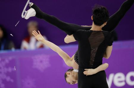 Ryom Tae Ok and Kim Ju Sik of North Korea perform in the pairs free skate figure skating final in the Gangneung Ice Arena at the 2018 Winter Olympics in Gangneung, South Korea, Thursday, Feb. 15, 2018.