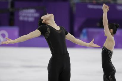Ryom Tae Ok and Kim Ju Sik of North Korea react after their performance in the pairs free skate figure skating final in the Gangneung Ice Arena at the 2018 Winter Olympics in Gangneung, South Korea, Thursday, Feb. 15, 2018