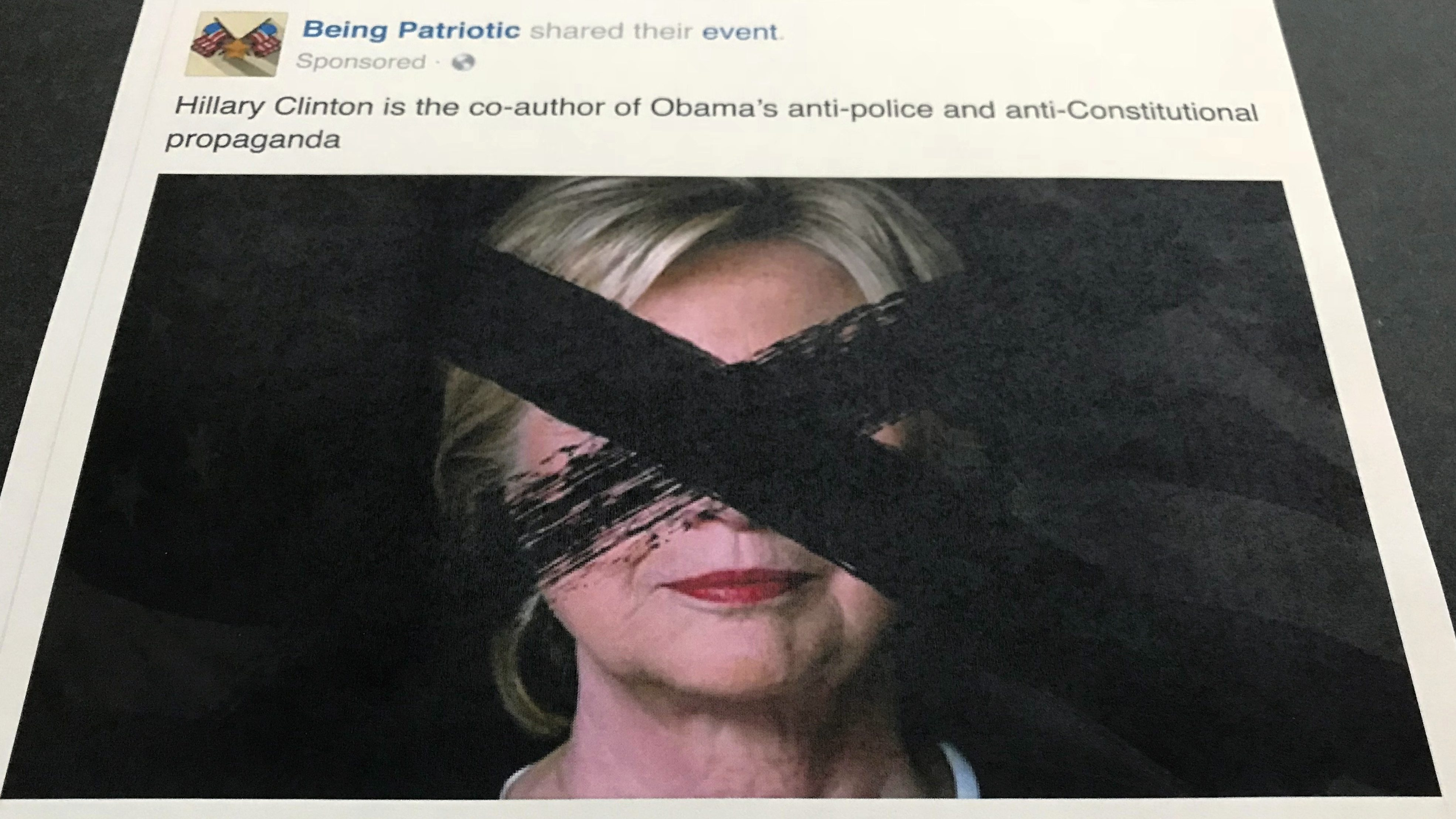 "An anti-Clinton rally orchestrated by the phony Facebook group ""Being Patriotic."""