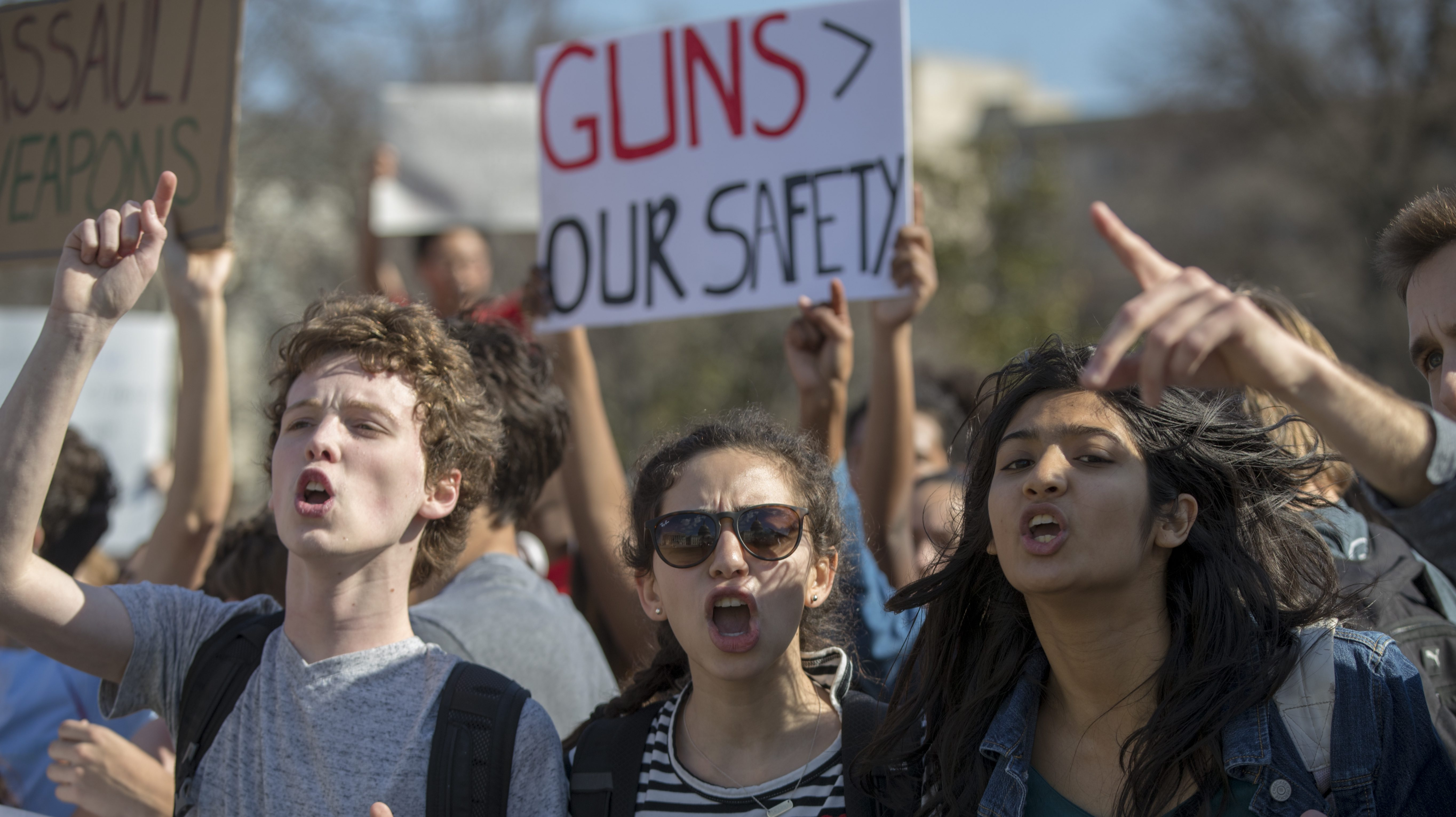 School students from Montgomery County, Md., in suburban Washington, rally in solidarity with those affected by the shooting at Parkland High School in Florida, at the Capitol in Washington, Wednesday, Feb. 21, 2018. (AP Photo/J. Scott Applewhite)