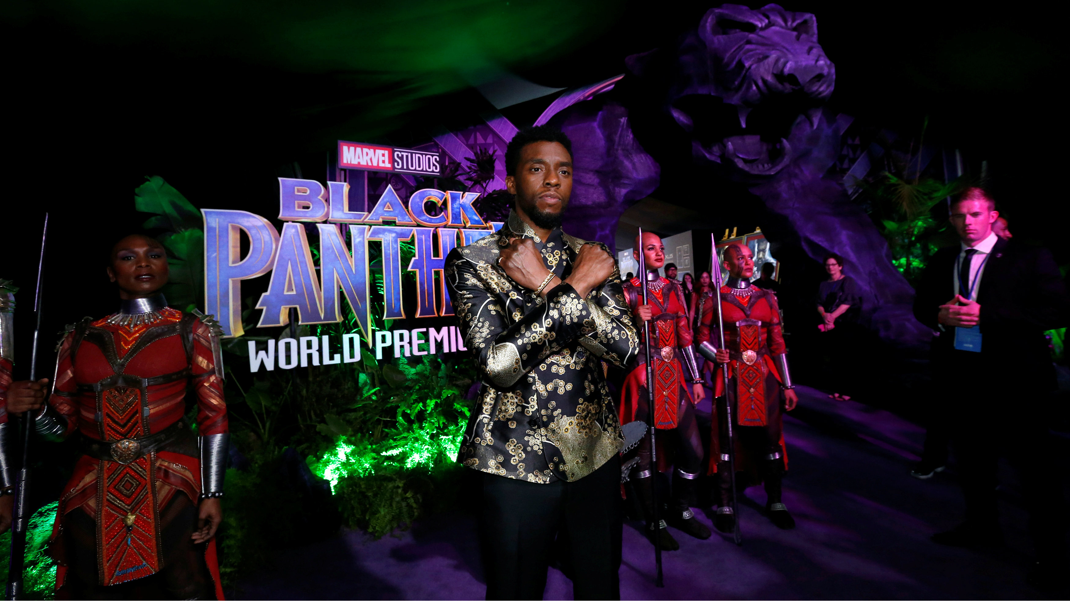 "Cast member Chadwick Boseman poses at the premiere of ""Black Panther"" in Los Angeles, California, U.S., January 29, 2018."
