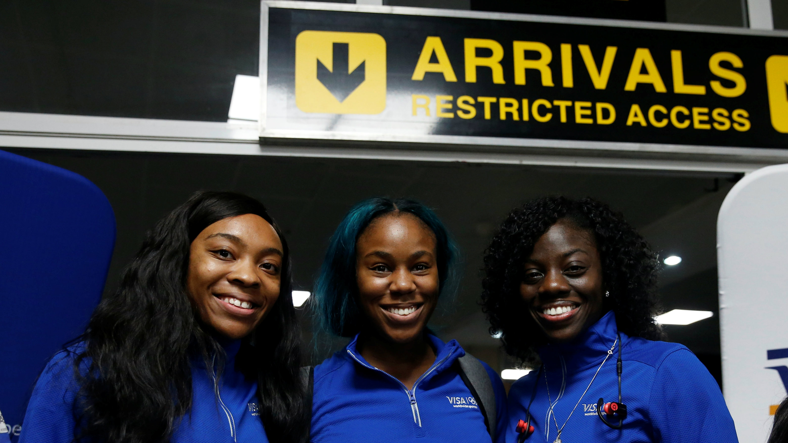 igerian Women's Bobsled Team Ngozi Onwumere, Akuoma Omeoga and Seun Adigun pose with Solabomi Okonkwo, representing VISA, sponsors of the team, upon their arrival in Lagos, Nigeria, as part of preparations ahead of the 2018 Pyeongchang Winter Olympic Games, February 1, 2018.