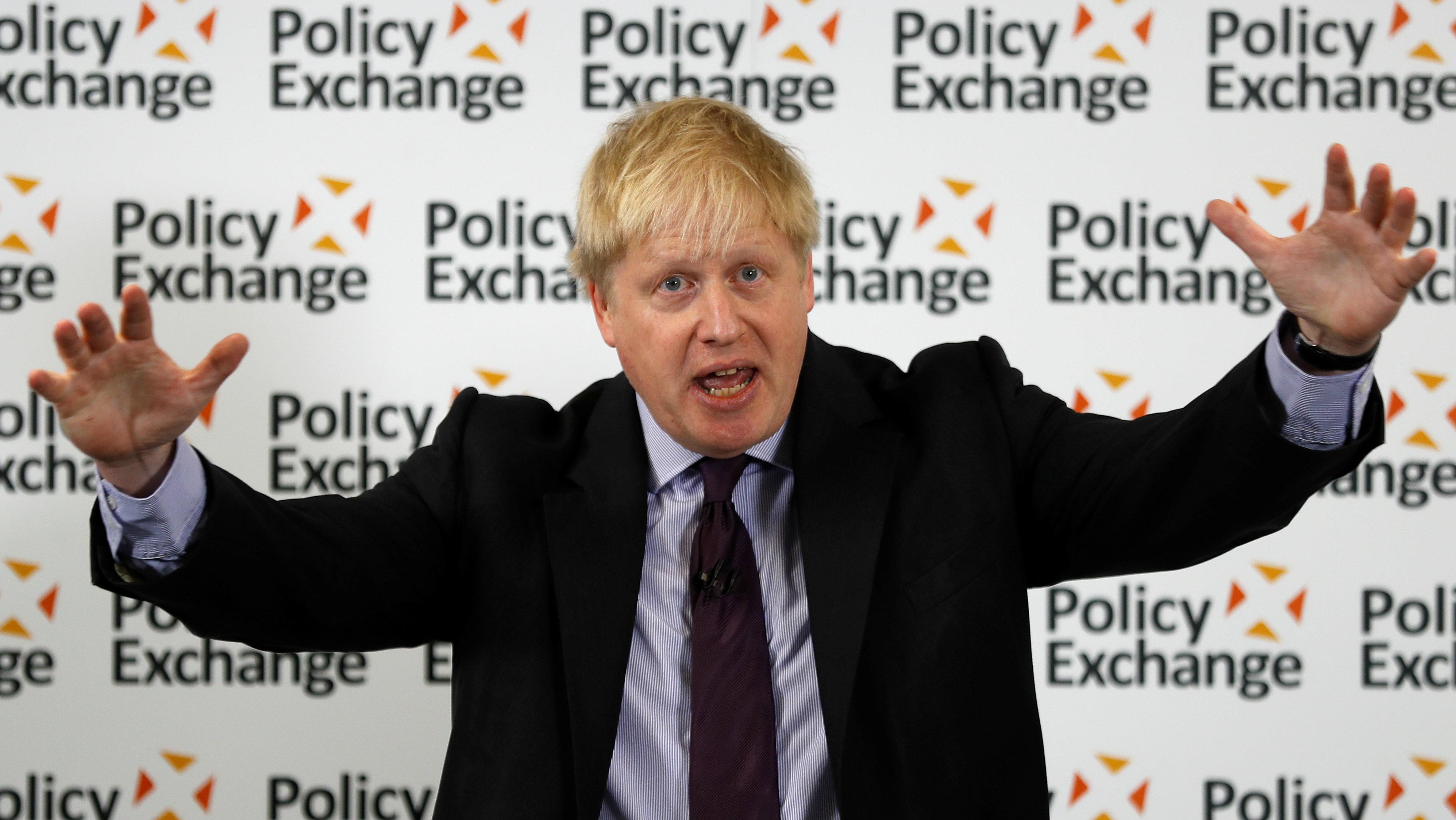 Britain's Foreign Secretary Boris Johnson delivers a speech on Brexit