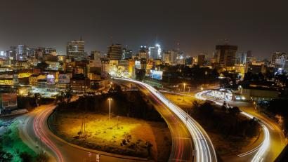 A photo created with a long exposure effect shows vehicles traveling at night along the globe roundabout entering and leaving the central business district of Kenya's capital Nairobi, Kenya, 10 January 2018. According to local media, Kenya's 707 large manufacturers and businesses on 01 December 2017 started enjoying discounted night-time electricity tariffs over the weekends introduced by Kenya's electricity power distributing company Kenya Power. The tariffs where introduced to lower the cost of consumer goods and attract investors in quest to boost economic growth and job creation.
