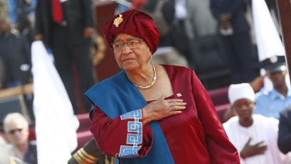 Outgoing President Ellen Johnson Sirleaf arrives for the inauguration of president elect George Weah at the Samuel Kanyon Doe stadium in Monrovia, Liberia, 22 January 2018 (issued 23 January 2018). The inauguration of President-elect George Weah held at a sports stadium is the first ever in the history of Liberia. Weah is the world's first football star to be democratically elected President. Weah will be sworn in as president on 22 January, to succeed incumbent President, and Africa's first female democratically elected President, Ellen Johnson Sirleaf, who concludes her second and final term in office.