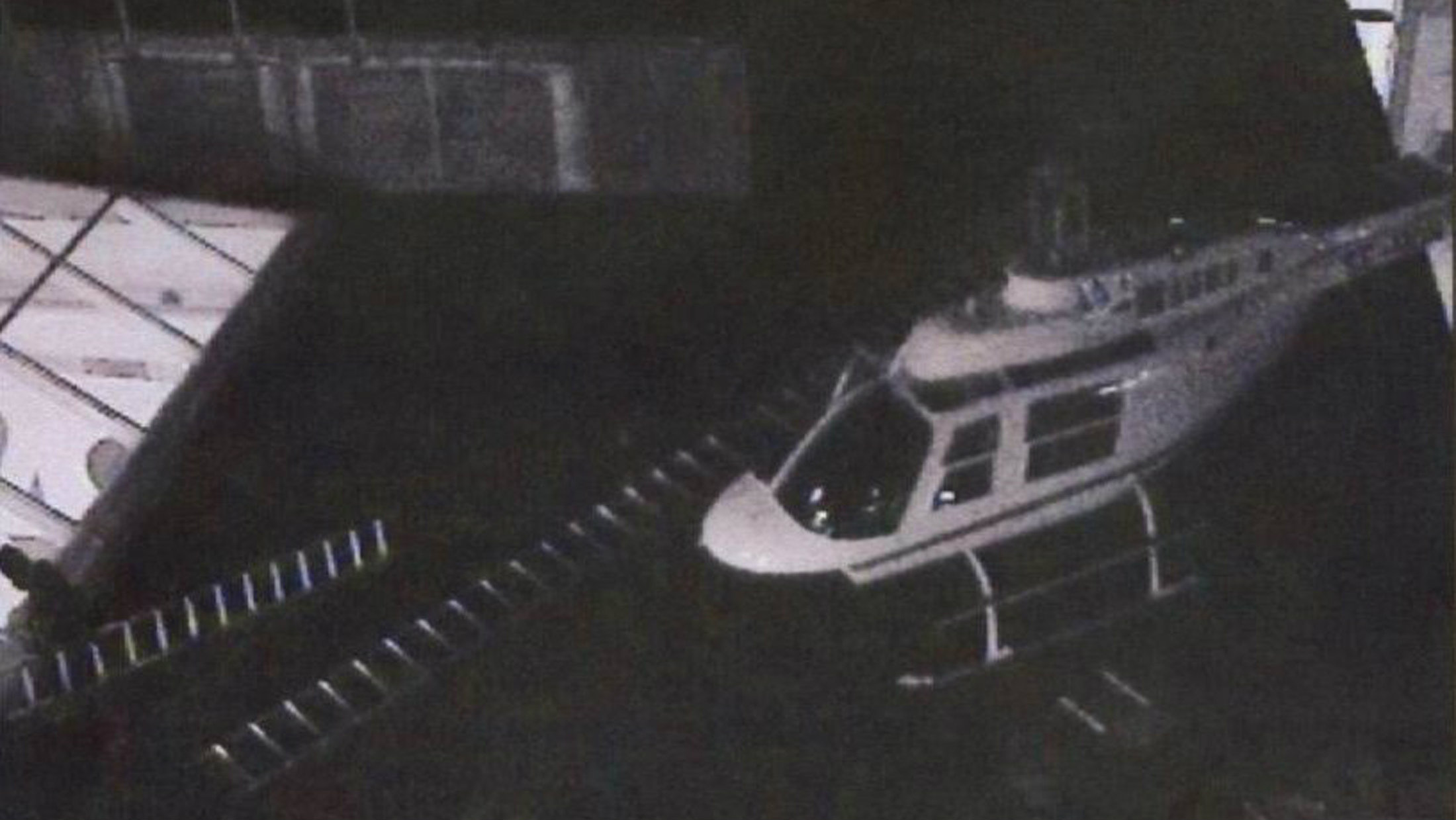A file CCTV image dated September 23, 2009, made available by Swedish Police July 19, 2010, shows a stolen helicopter on the roof of the G4S cash depot in Stockholm. Swedish prosecutors on Monday charged ten men with theft for stealing 39 million Swedish kronor (four million euro) from the Stockholm cash depot last year in a helicopter heist. Five men were charged with aggravated robbery and five with complicity. Two other suspects remain at large. REUTERS/Police Handout (SWEDEN) NO THIRD PARTY SALES. NOT FOR USE BY REUTERS THIRD PARTY DISTRIBUTORS. SWEDEN OUT. NO COMMERCIAL OR EDITORIAL SALES IN SWEDEN. QUALITY FROM SOURCE
