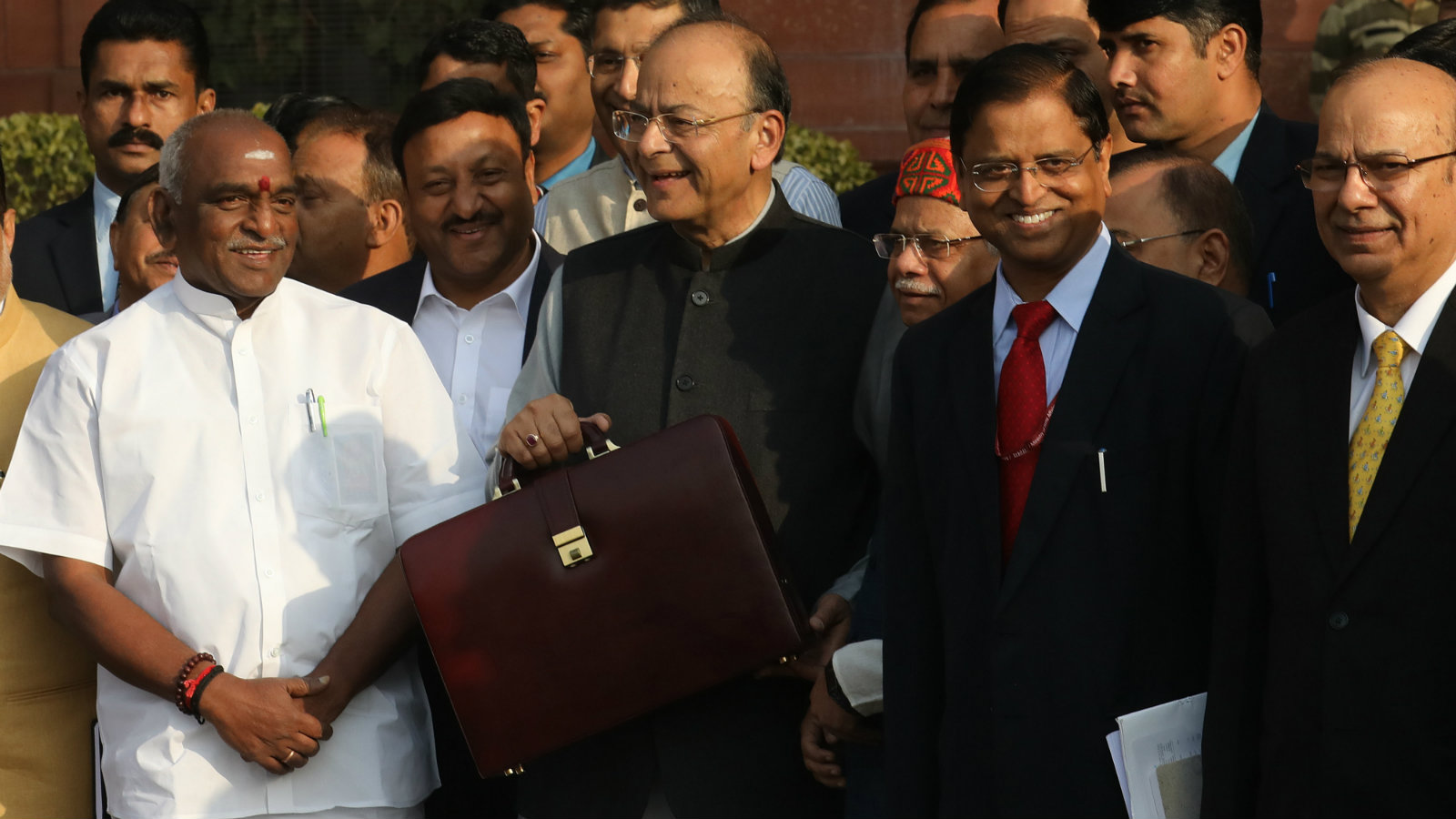 Indian Finance Minister Arun Jaitley (C) holds his briefcase with Union Budget documents as he leaves the Ministry of Finance for the Parliament House to present the 2018-19 General Budget in New Delhi, India, 01 February 2018. Jaitley will be presenting the general budget for the country at the Indian parliament. India's financial year runs from April to March. EPA-