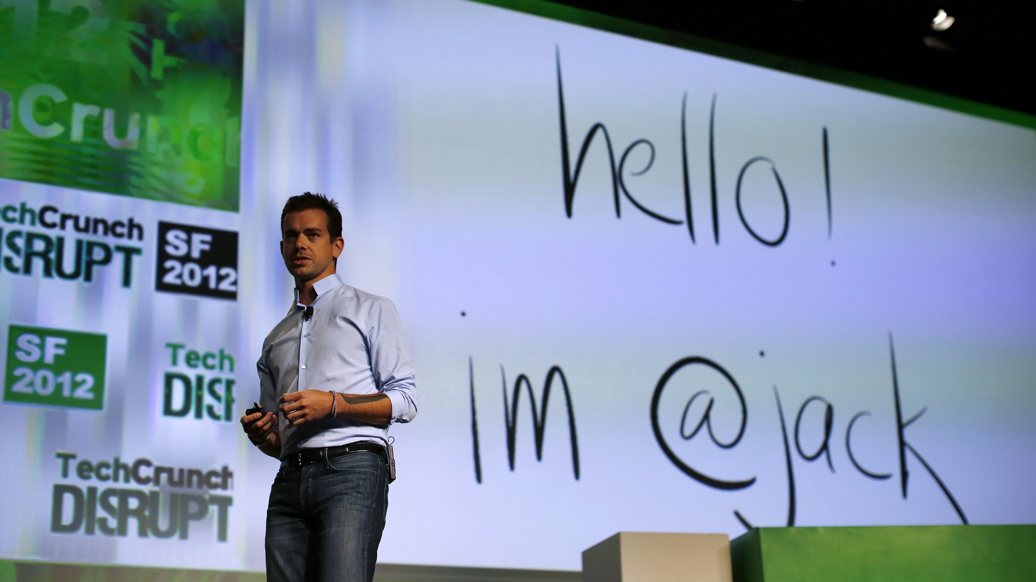 Jack Dorsey, founder of Square and Twitter, speaks on stage during day one of TechCrunch Disrupt SF 2012 event at the San Francisco Design Center Concourse in San Francisco, California September 10, 2012.