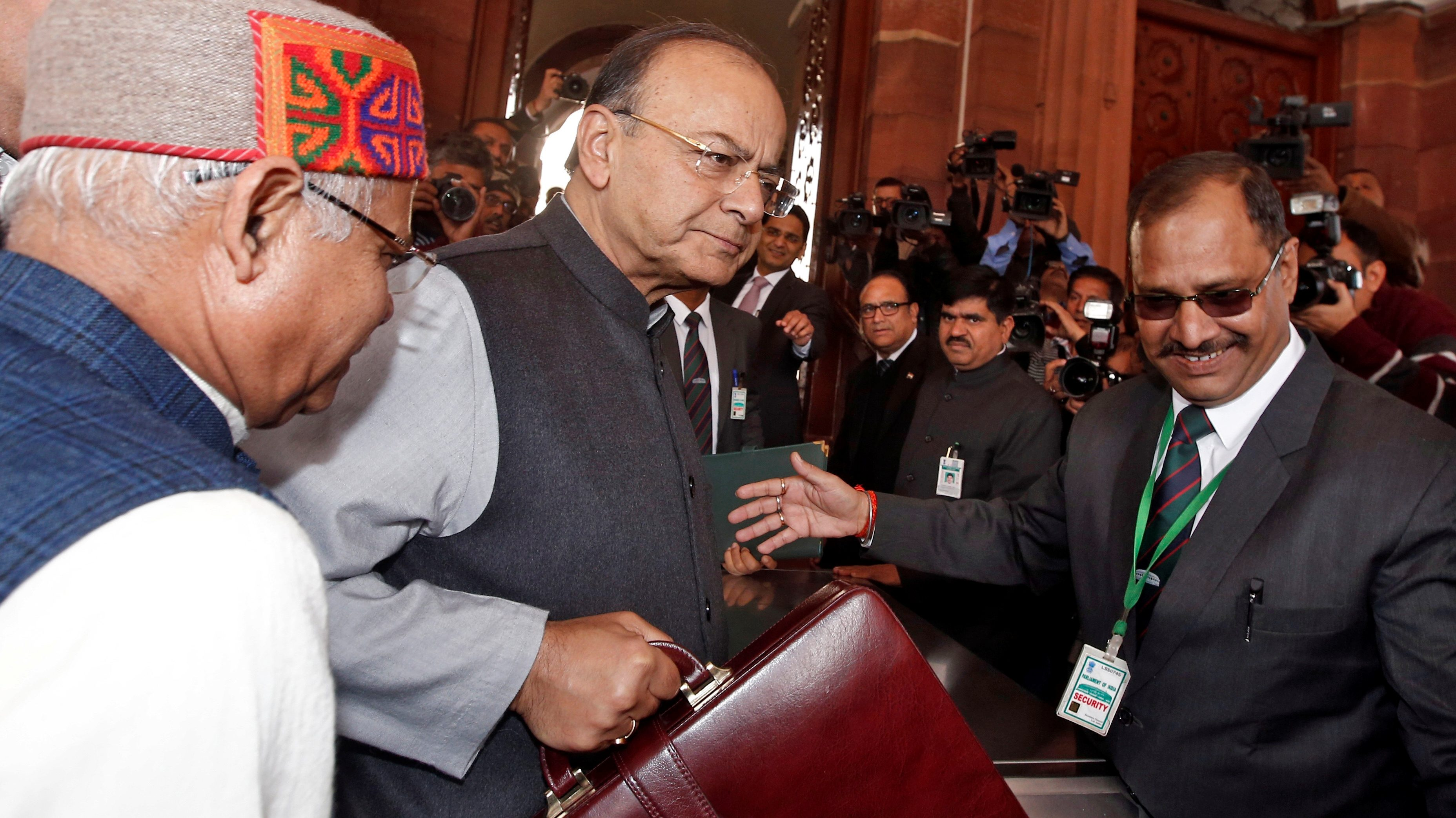 India's Finance Minister Arun Jaitley holds his briefcase as he arrives at the parliament to present the federal budget in New Delhi, India, February 1, 2018.