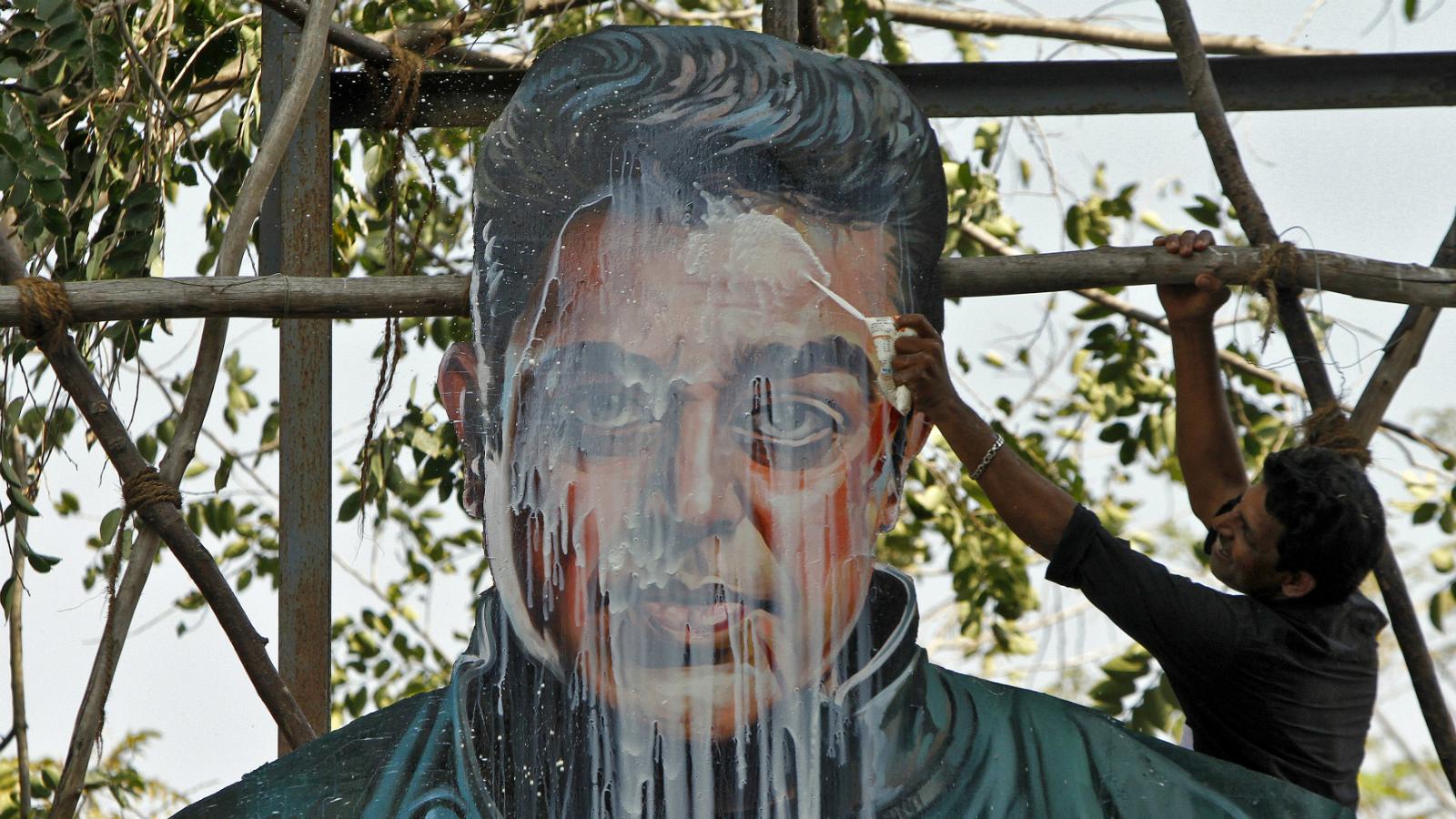 Kamal Haasan's cardboard cutout in Chennai.