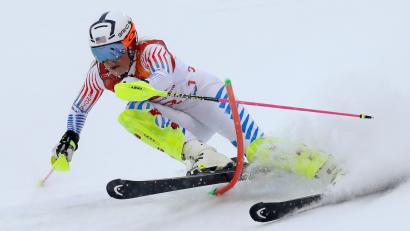 Lindsey Vonn of the U.S. competes in the Women's Slalom part of the Women's Alpine Combined at the 2018 Winter Olympics in Pyeongchang.