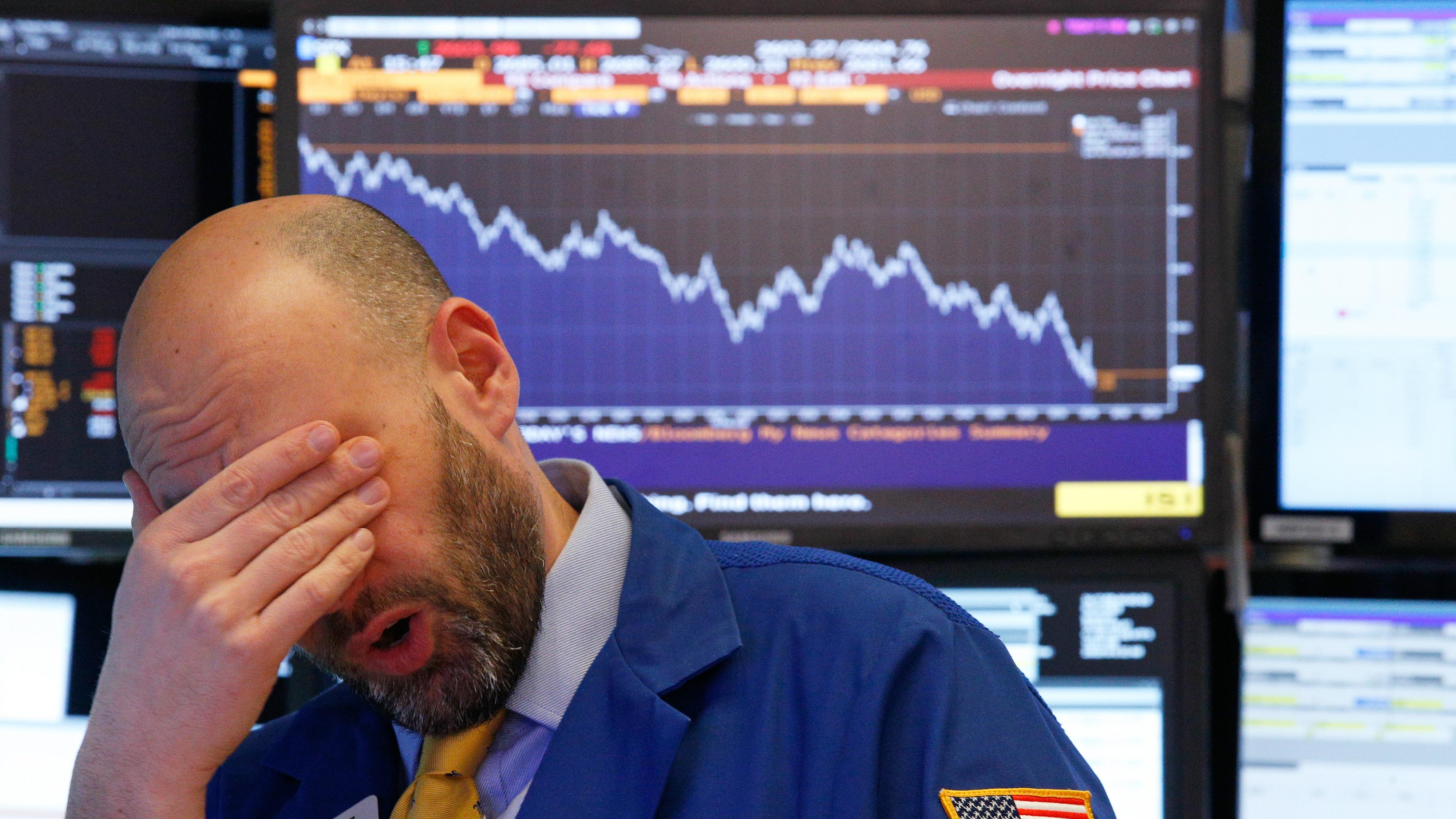 A sad Wall Street trader