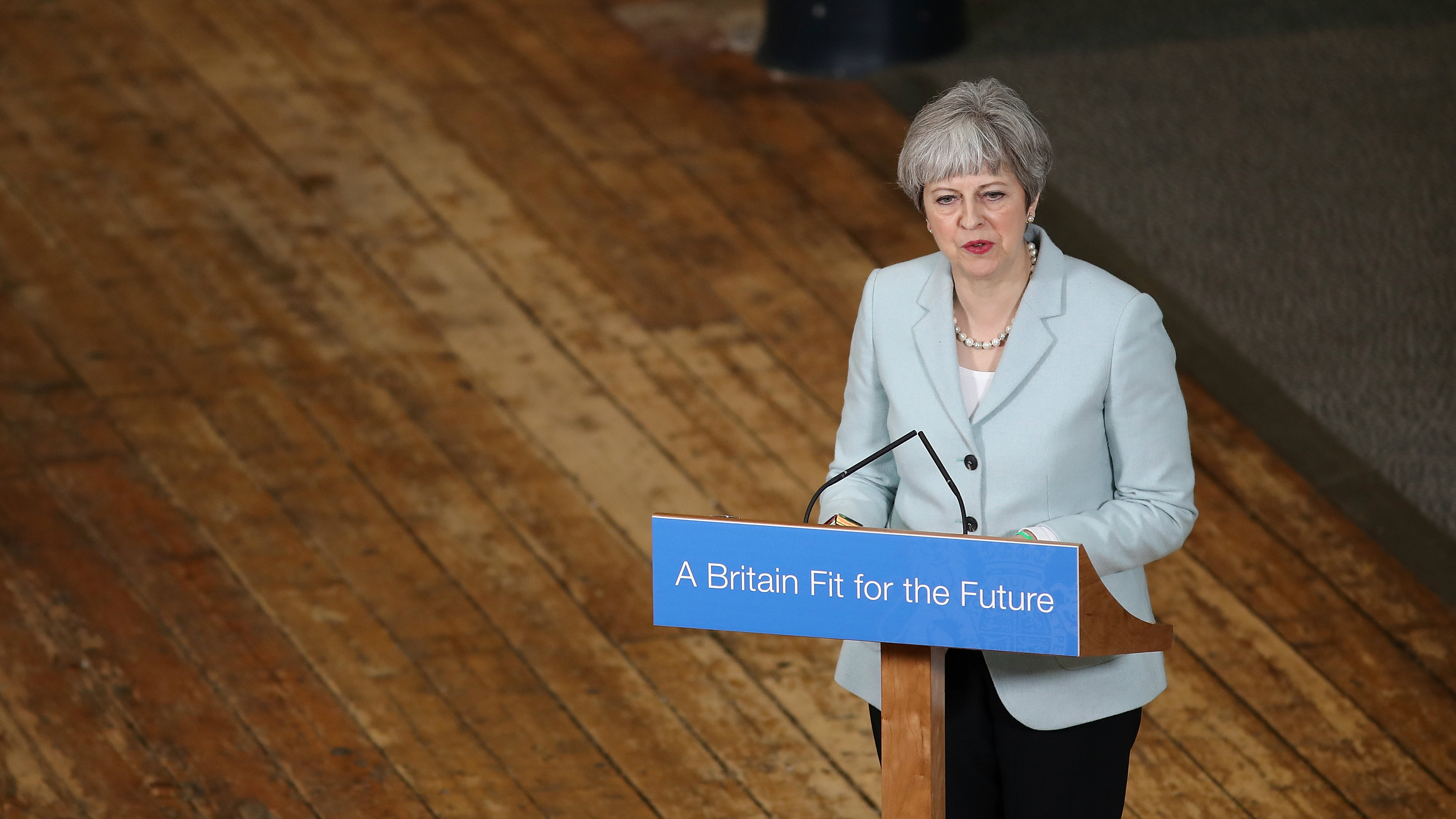 Britain's Prime Minister Theresa May delivers a speec