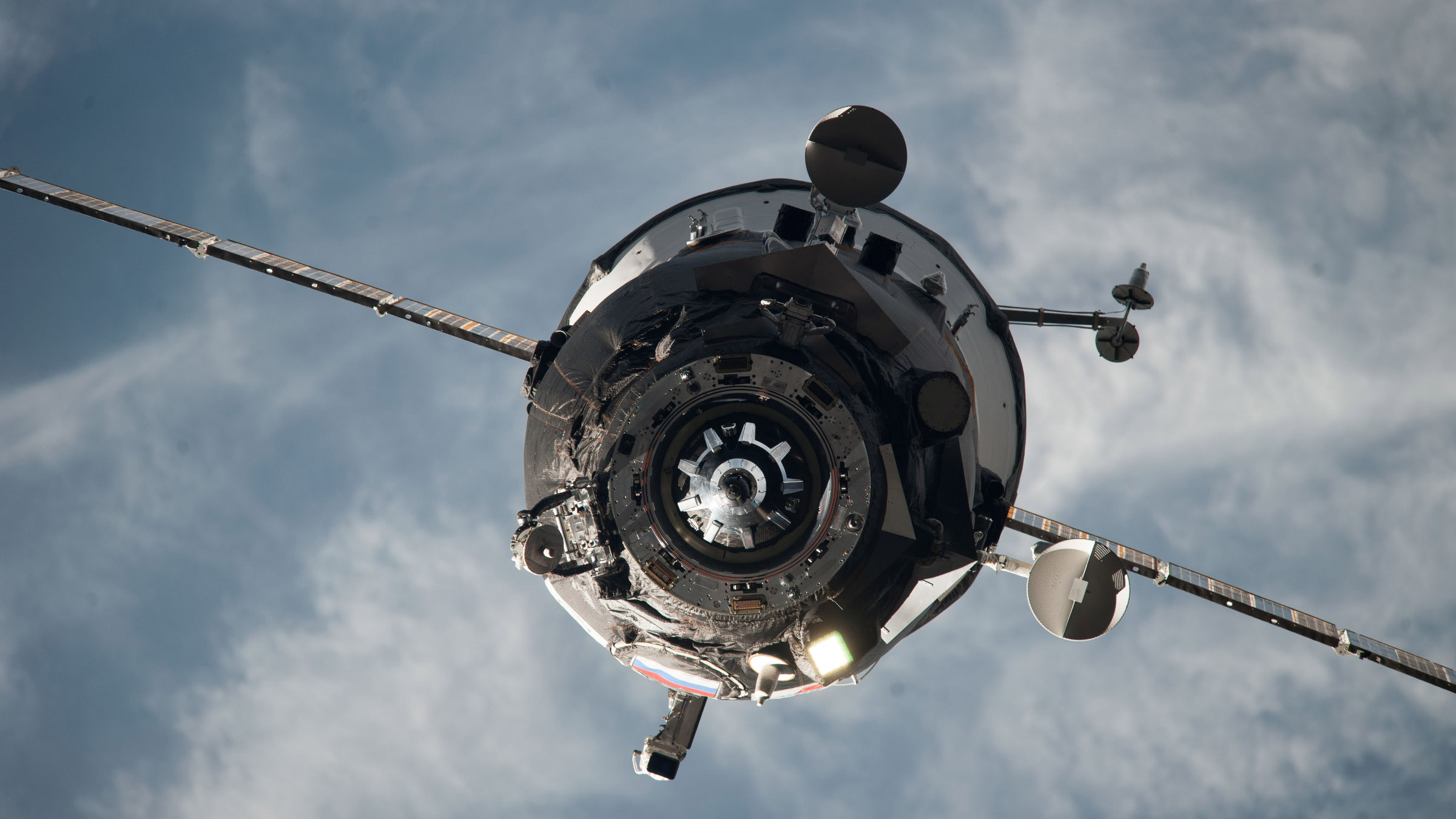 In this Feb. 5, 2014 photo provided by NASA, an ISS Progress resupply vehicle approaches the International Space Station. On Wednesday, April 29, 2015, NASA and the Russian Space Agency declared a total loss on an unmanned Progress capsule, carrying 3 tons of goods to the station. The spacecraft began tumbling when it reached orbit Tuesday, following launch from Kazakhstan, and flight controllers were unable to bring it under control.