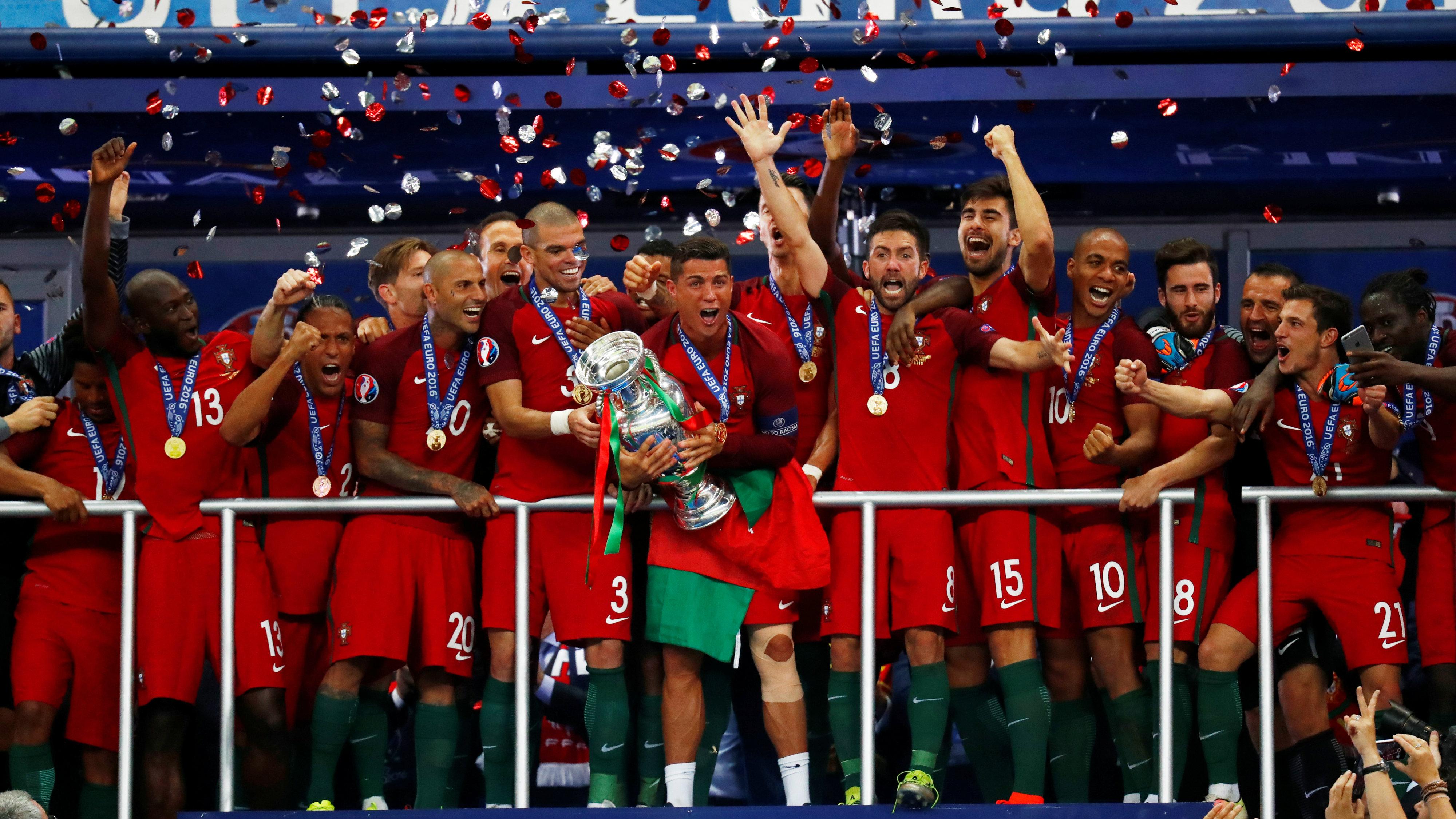 Portuguese football team celebrates.