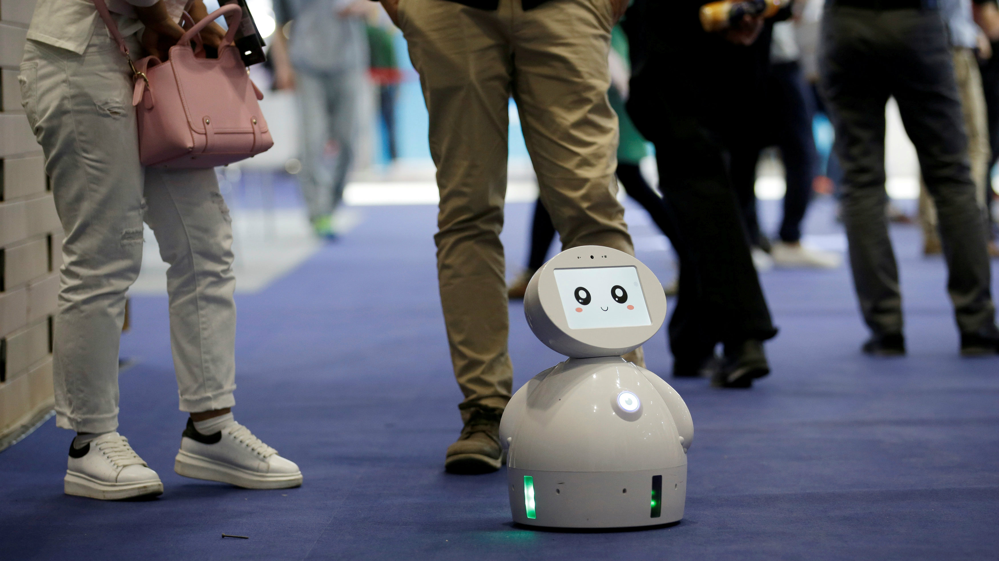 a ROBOTLEO robot at the Global Mobile Internet Conference in Beijing