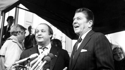President-elect Ronald Reagan with James Brady