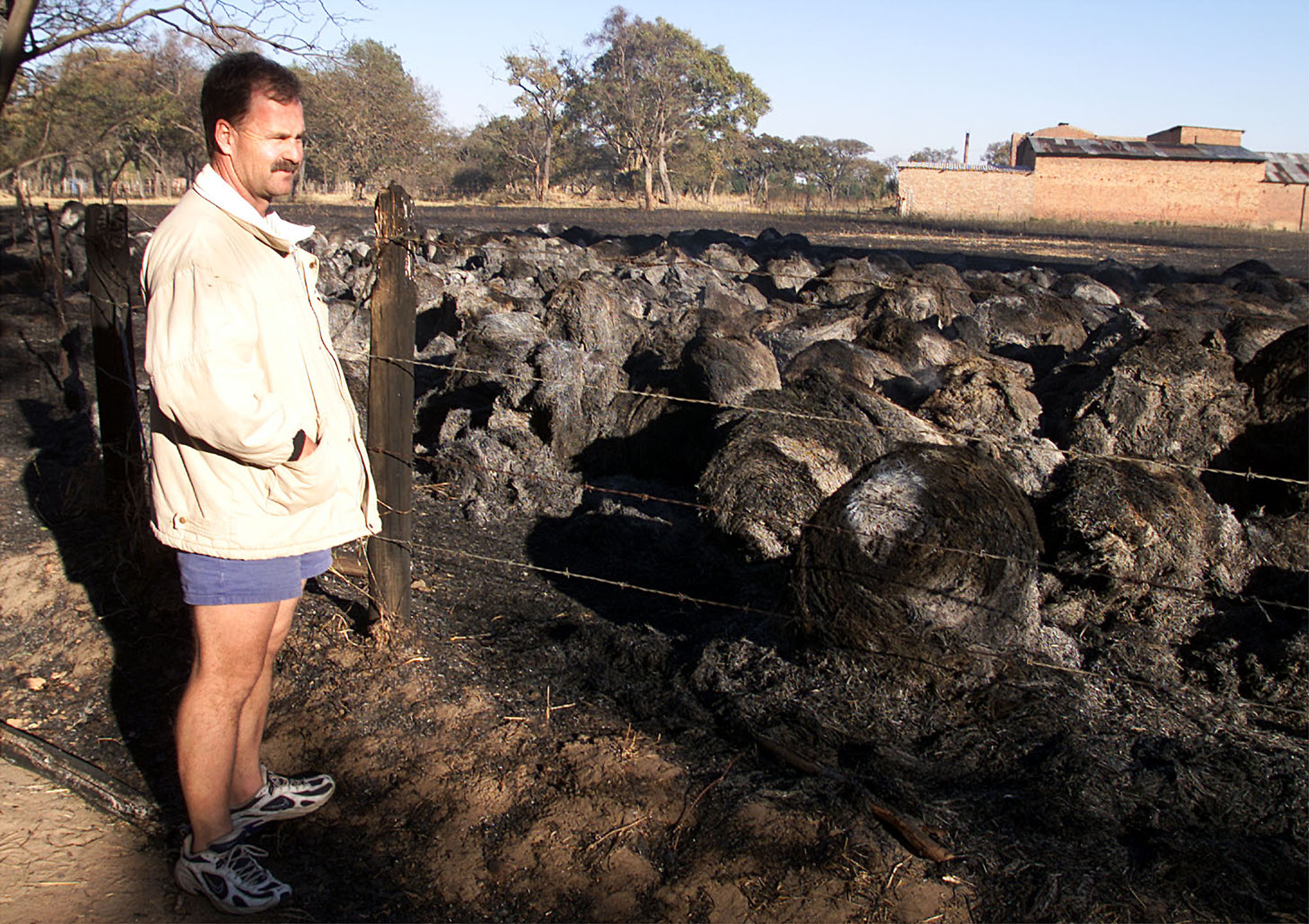 Zimbabwean farmer Ian Cochrane from the Karoi district 200 km's north west of Harare looks at burnt hay bales on his Renrock Estates farm September 12, 2002. The hay and a horse were set alight by so called war veterans and land settlers during continued intimidation even though the farm is not listed for resettlement. REUTERS/Howard Burditt HB/AA - RP3DRIDZFUAA