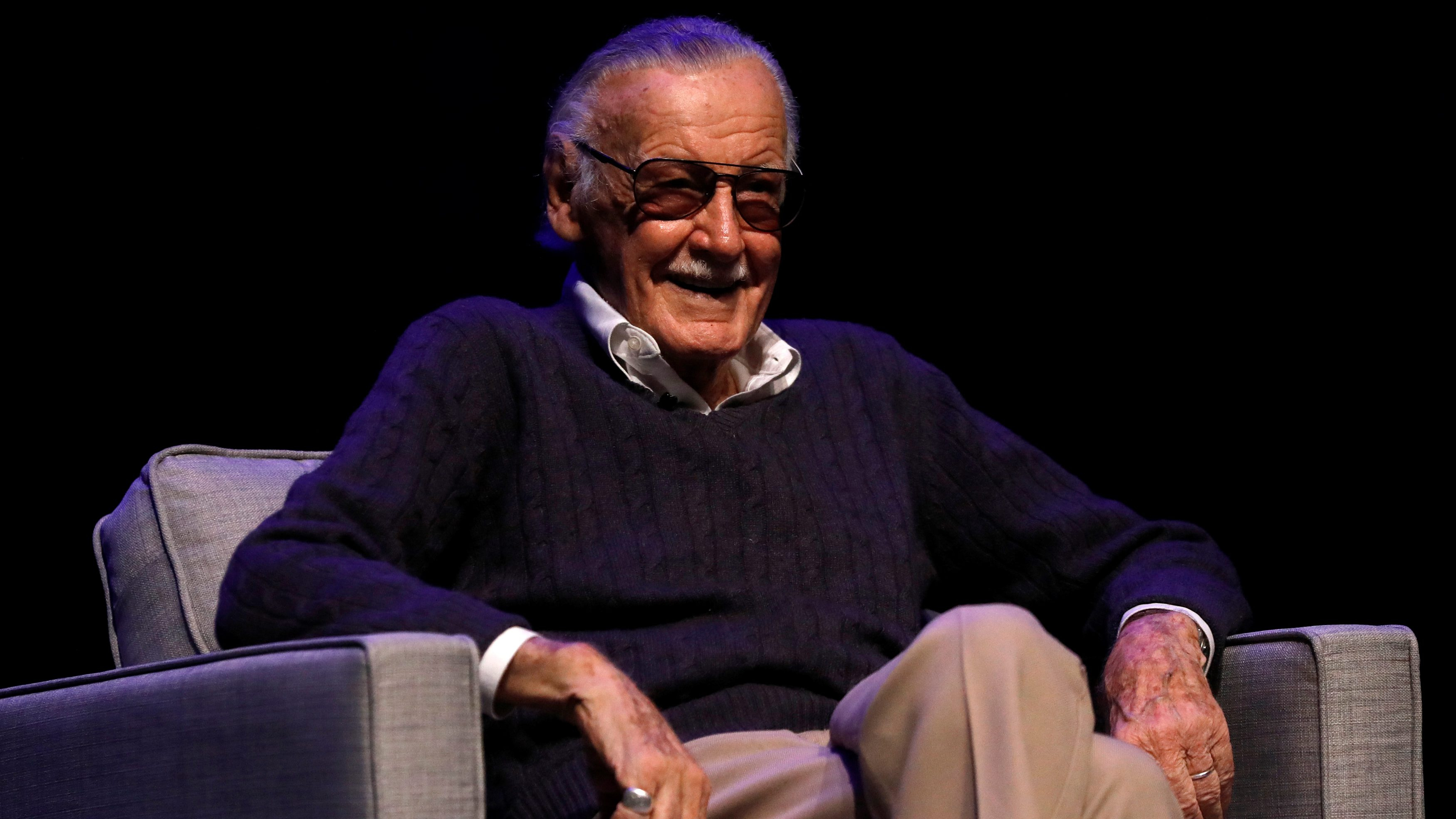 "Marvel Comics co-creator Stan Lee attends a tribute event ""Extraordinary: Stan Lee"" at the Saban Theatre in Beverly Hills, California, U.S., August 22, 2017. REUTERS/Mario Anzuoni - RC1231FEBF60"