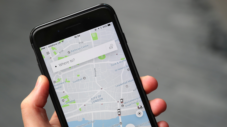 The Uber app is seen on mobile telephone in London, Britain, September 25, 2017.