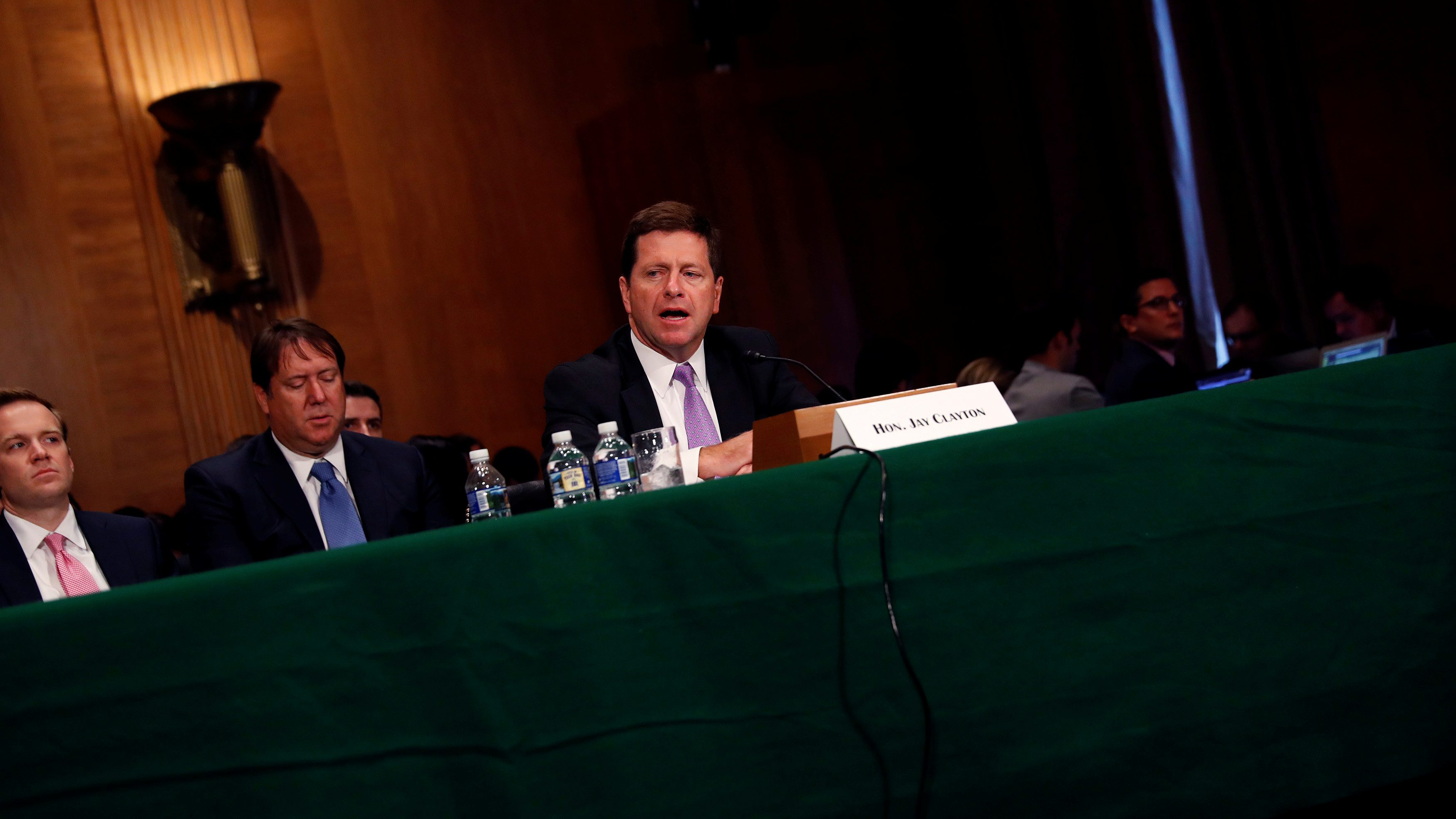 Jay Clayton, Chairman of the Securities and Exchange Commission, testifies at a Senate Banking hearing on Capitol Hill in Washington, U.S.