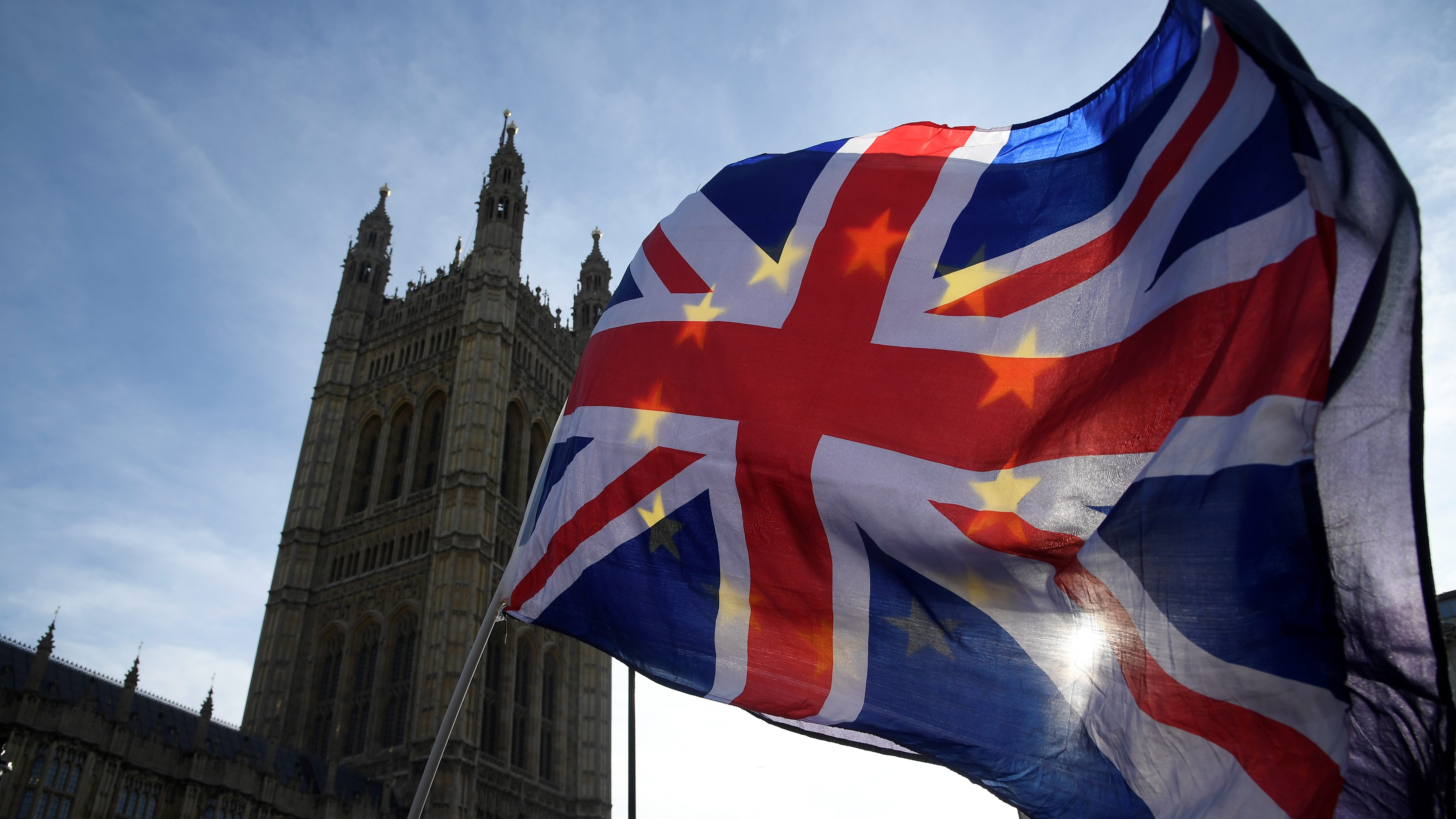 Anti-Brexit demonstrators wave EU and Union flags outside the Houses of Parliament in London, Britain, January 30, 2018. REUTERS/Toby Melville - RC1A41866470