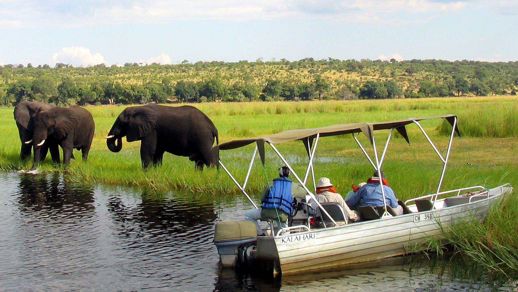 Foreign tourists in safari riverboats observe elephants along the Chobe river bank near Botswana's northern border where Zimbabwe, Zambia and Namibia meet, March 4, 2005.