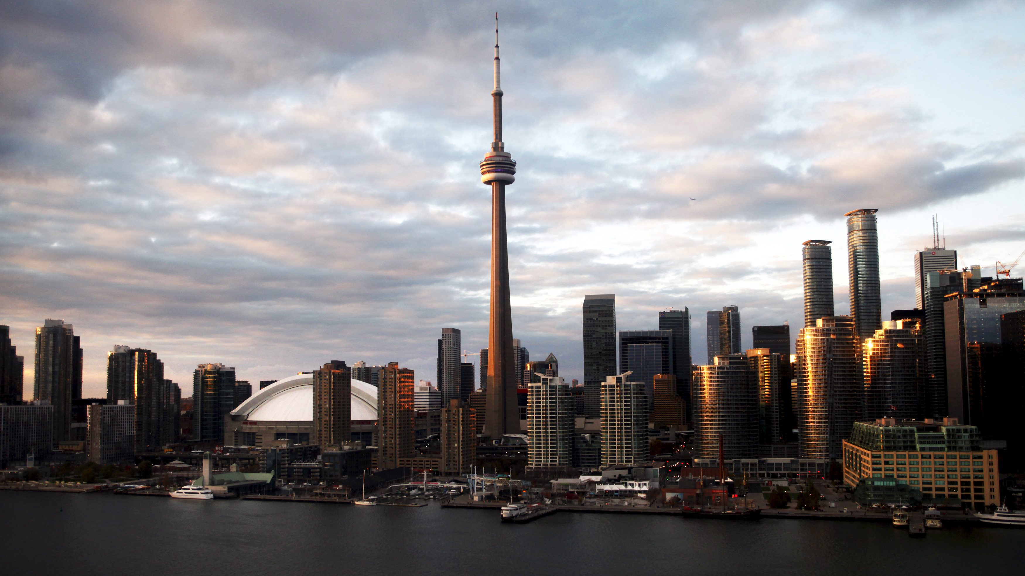 The Toronto city skyline is shown in this aerial photo over Lake Ontario in Toronto