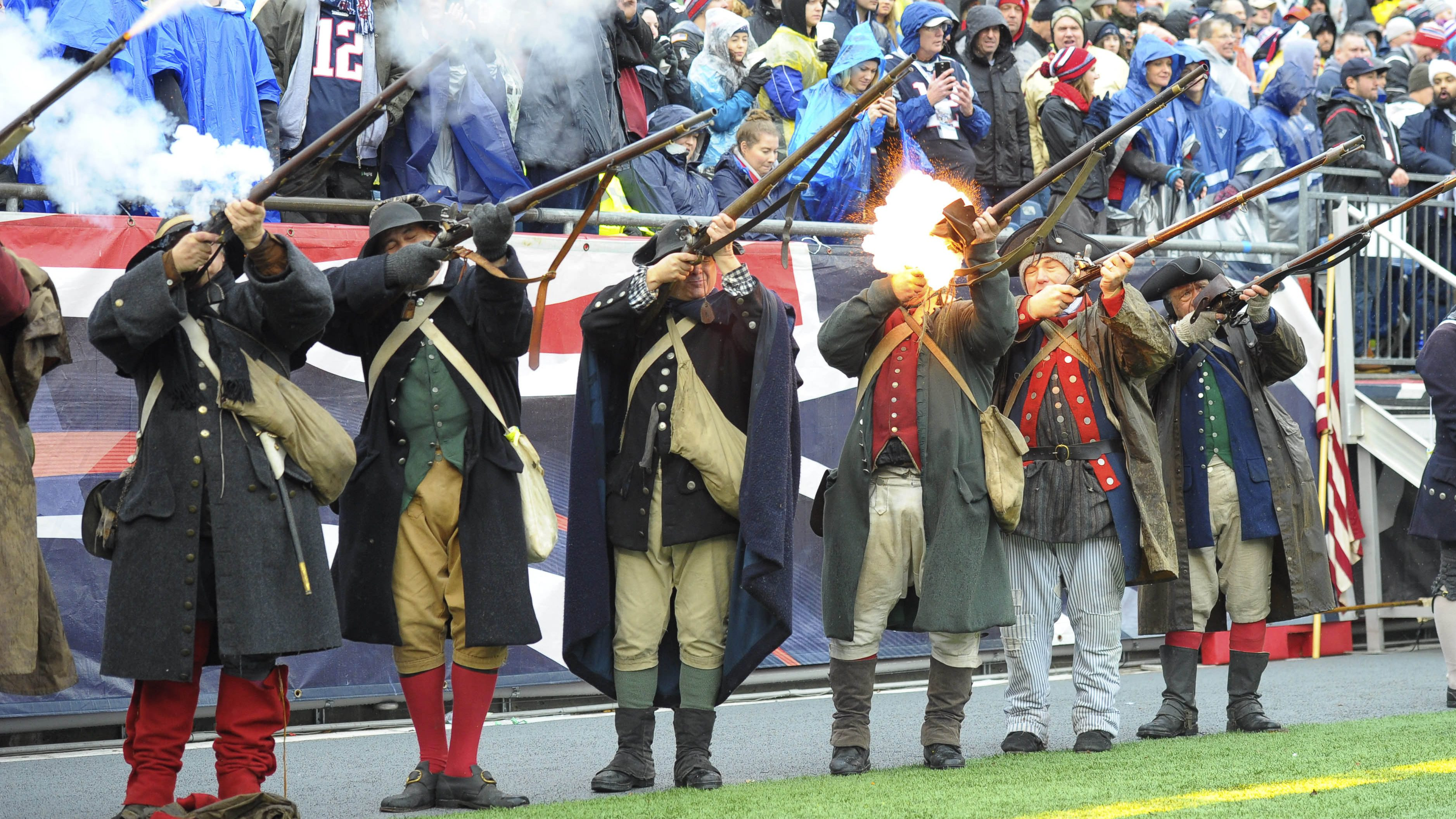 Dec 24, 2016; Foxborough, MA, USA;  The end zone militia fire the muskets after a New England Patriots touchdown during the first half against the New York Jets at Gillette Stadium. Mandatory Credit: Bob DeChiara-USA TODAY Sports - 9766913