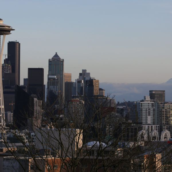 The Space Needle and Mount Rainier are seen on the skyline of Seattle, Washington, U.S. February 11, 2017.  REUTERS/Chris Helgren - RC1C3F43DC80