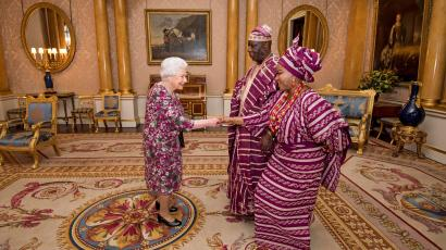 Britain's Queen Elizabeth meets George Adesola Oguntade, the High Commissioner of the Federal Republic of Nigeria, as he presents his Letter of Credence, with his wife, Mrs Oguntade, during a private audience at Buckingham Palace in central London, Britain December 6, 2017.