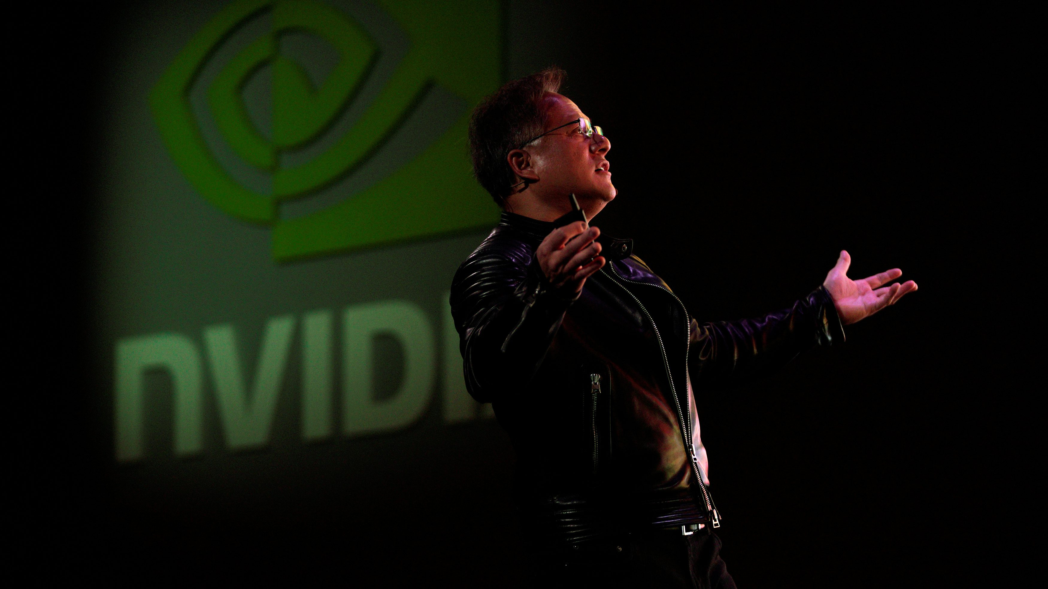Jensen Huang, CEO of Nvidia, reacts to a video at his keynote address at CES in Las Vegas, Nevada, U.S. January 7, 2018. REUTERS/Rick Wilking - RC17B2BD1140