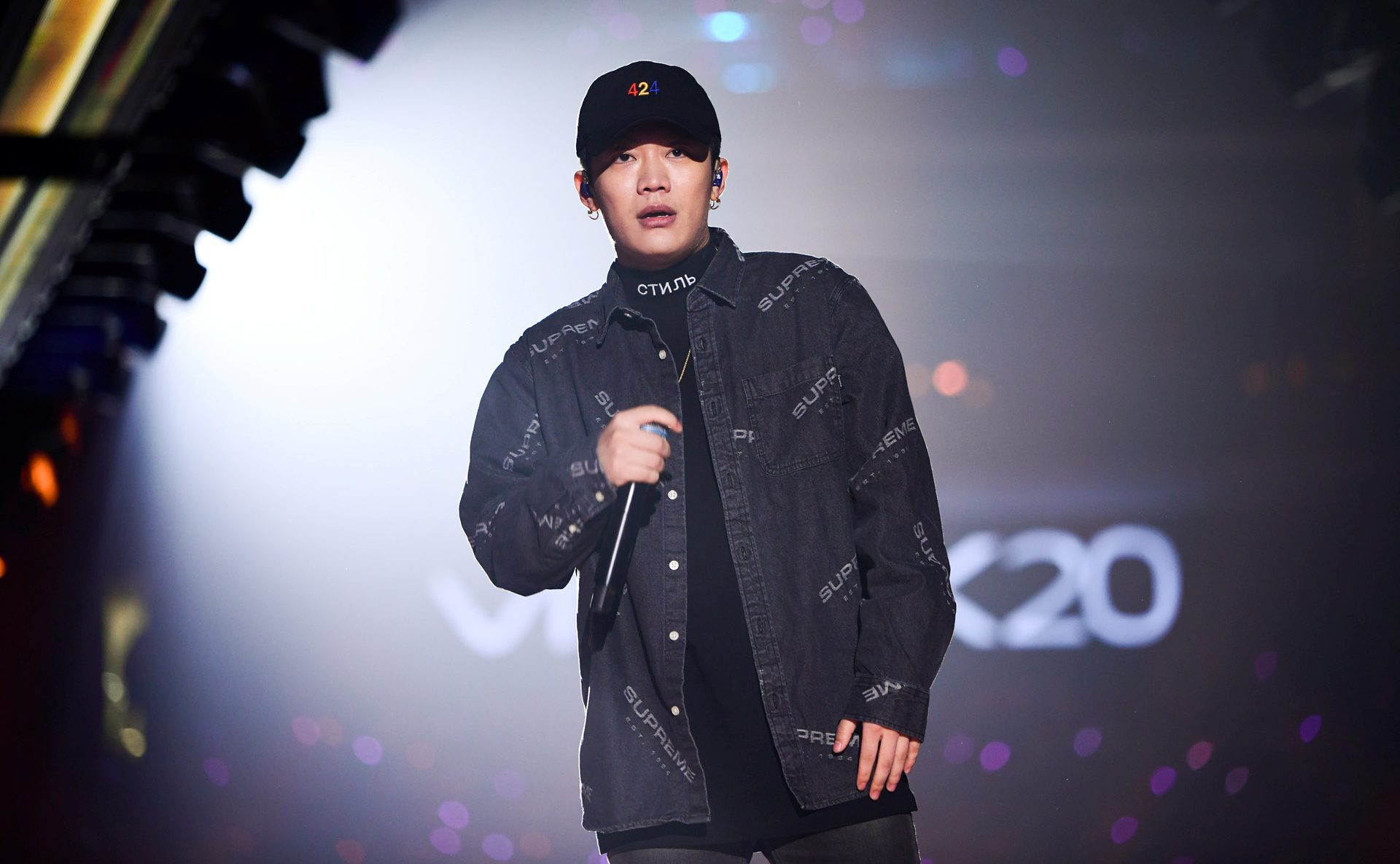 Chinese rap singer Wang Hao, better known by his stage name PG One, performs during a New Year concert in Guangzhou, Guangdong province, China January 1, 2018. Picture taken January 1, 2018. REUTERS/Stringer ATTENTION EDITORS - THIS IMAGE WAS PROVIDED BY A THIRD PARTY. CHINA OUT. - RC15B55007F0