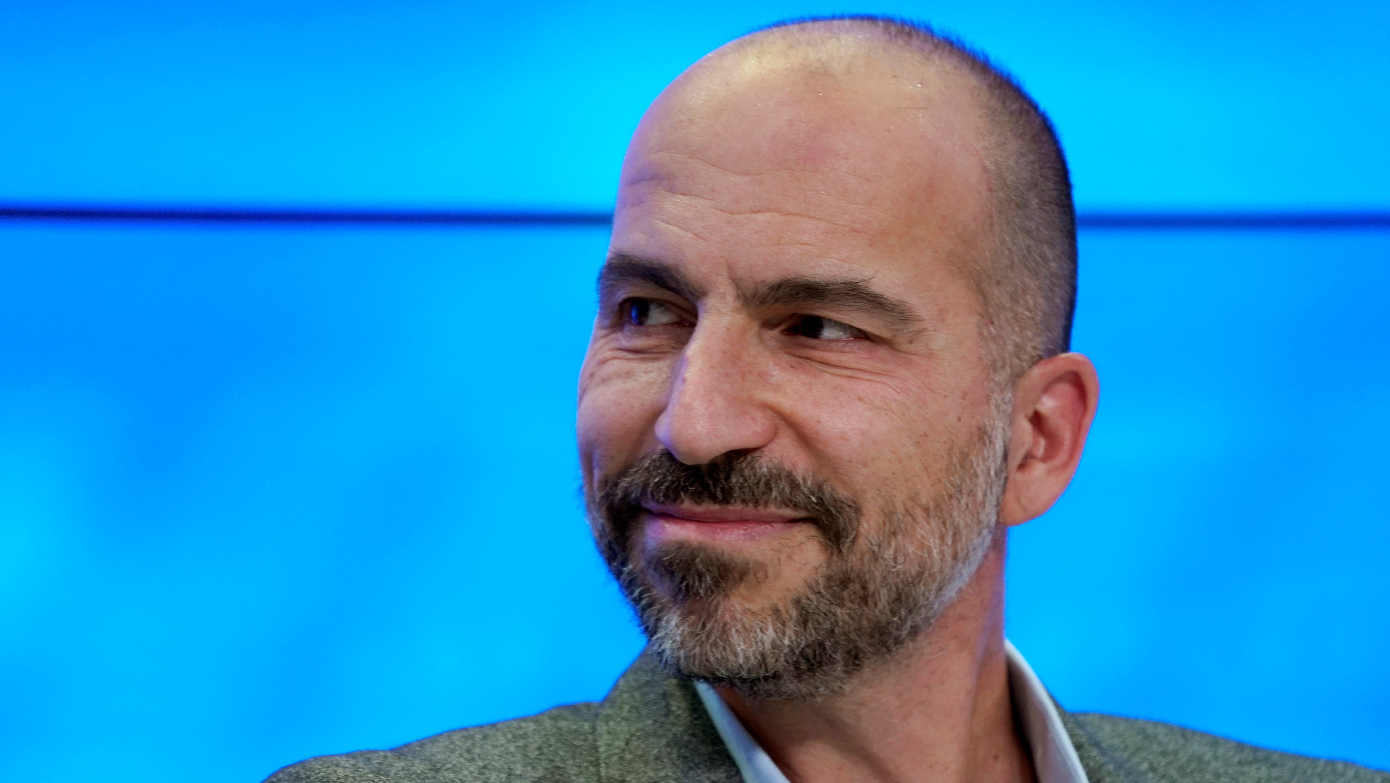 Dara Khosrowshahi, Chief Executive Officer of Uber Technologies, looks on as he attends the World Economic Forum (WEF) annual meeting in Davos, Switzerland, January 23, 2018.