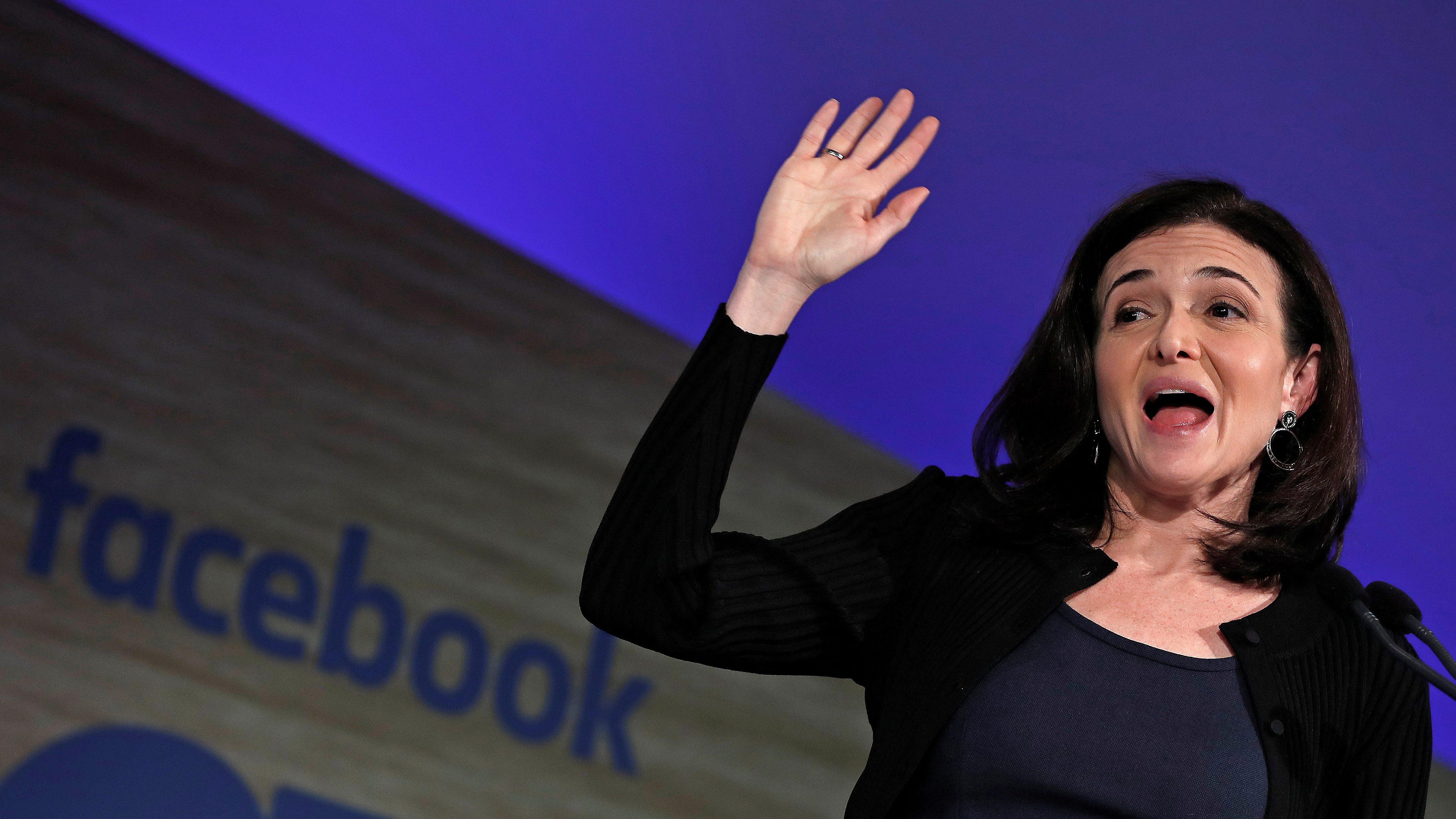 Facebook's COO Sandberg addresses Facebook Gather conference in Brussels