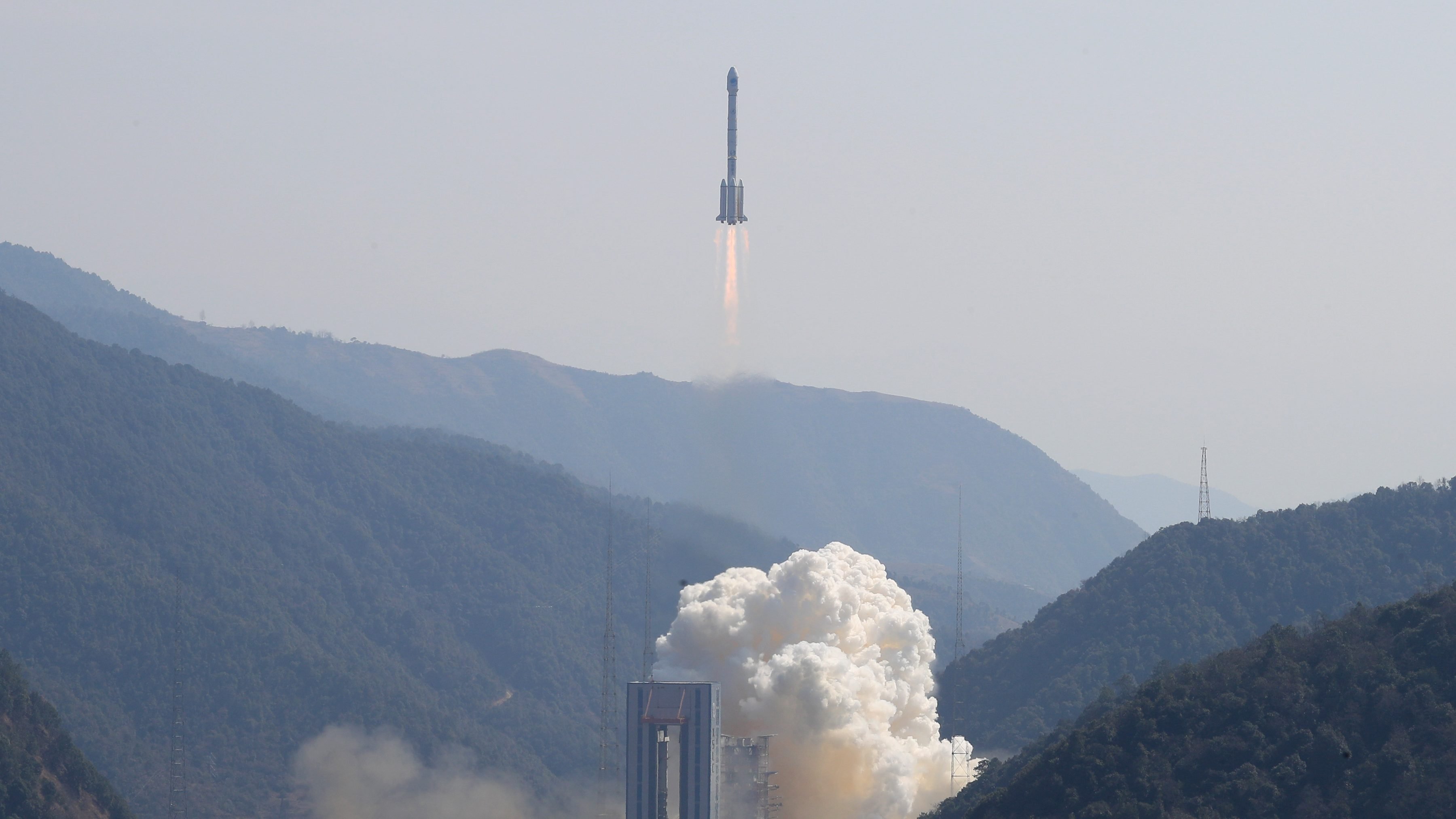 Two BeiDou navigation satellites via a single carrier rocket take off at the Xichang Satellite Launch Center, Sichuan province, China February 12, 2018. Picture taken February 12, 2018.