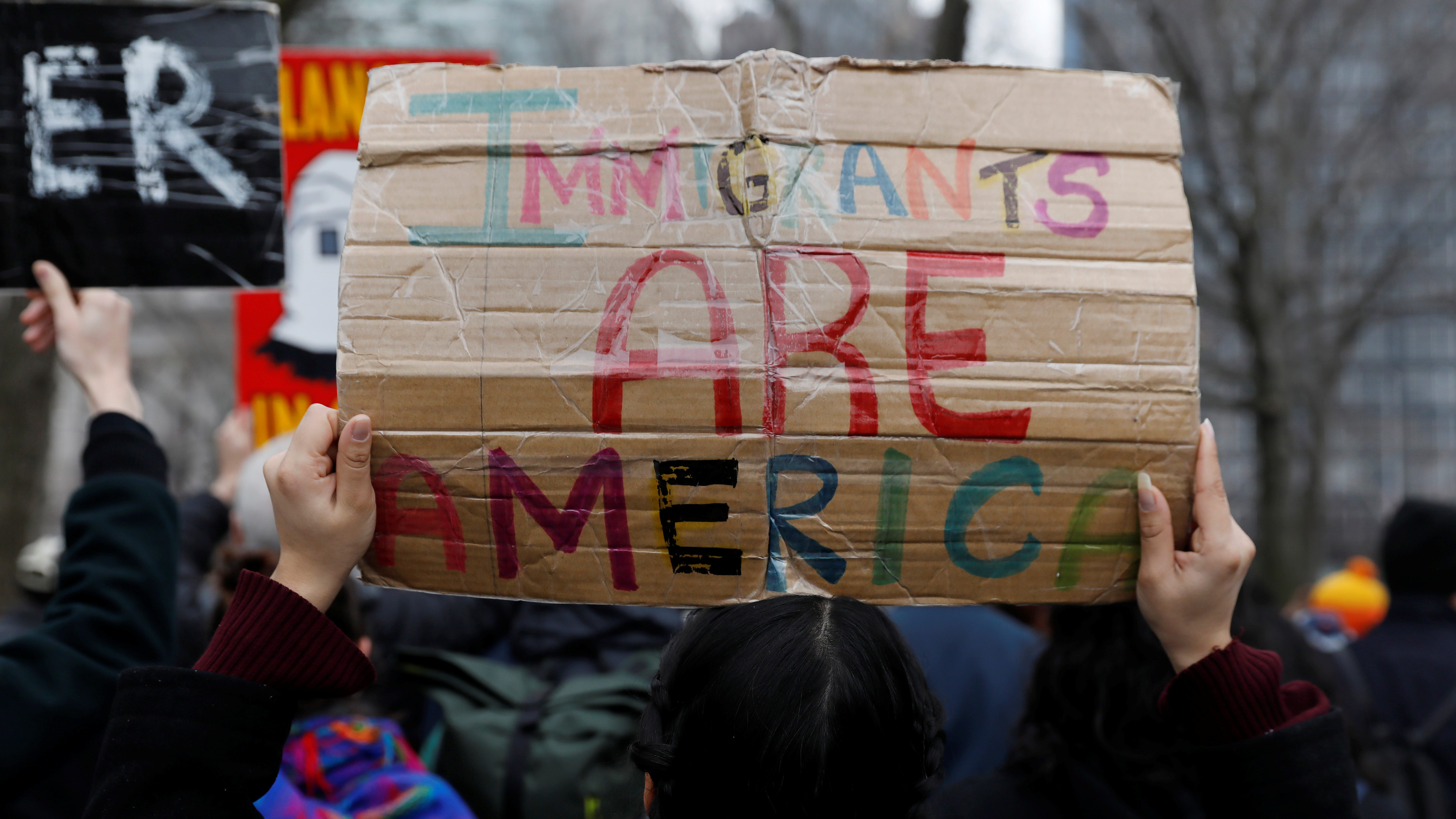 Activists and DACA recipients march up Broadway during the start of their 'Walk to Stay Home,' a five-day 250-mile walk from New York to Washington D.C., to demand that Congress pass a Clean Dream Act, in Manhattan, New York, U.S., February 15, 2018. - RC13536B11E0