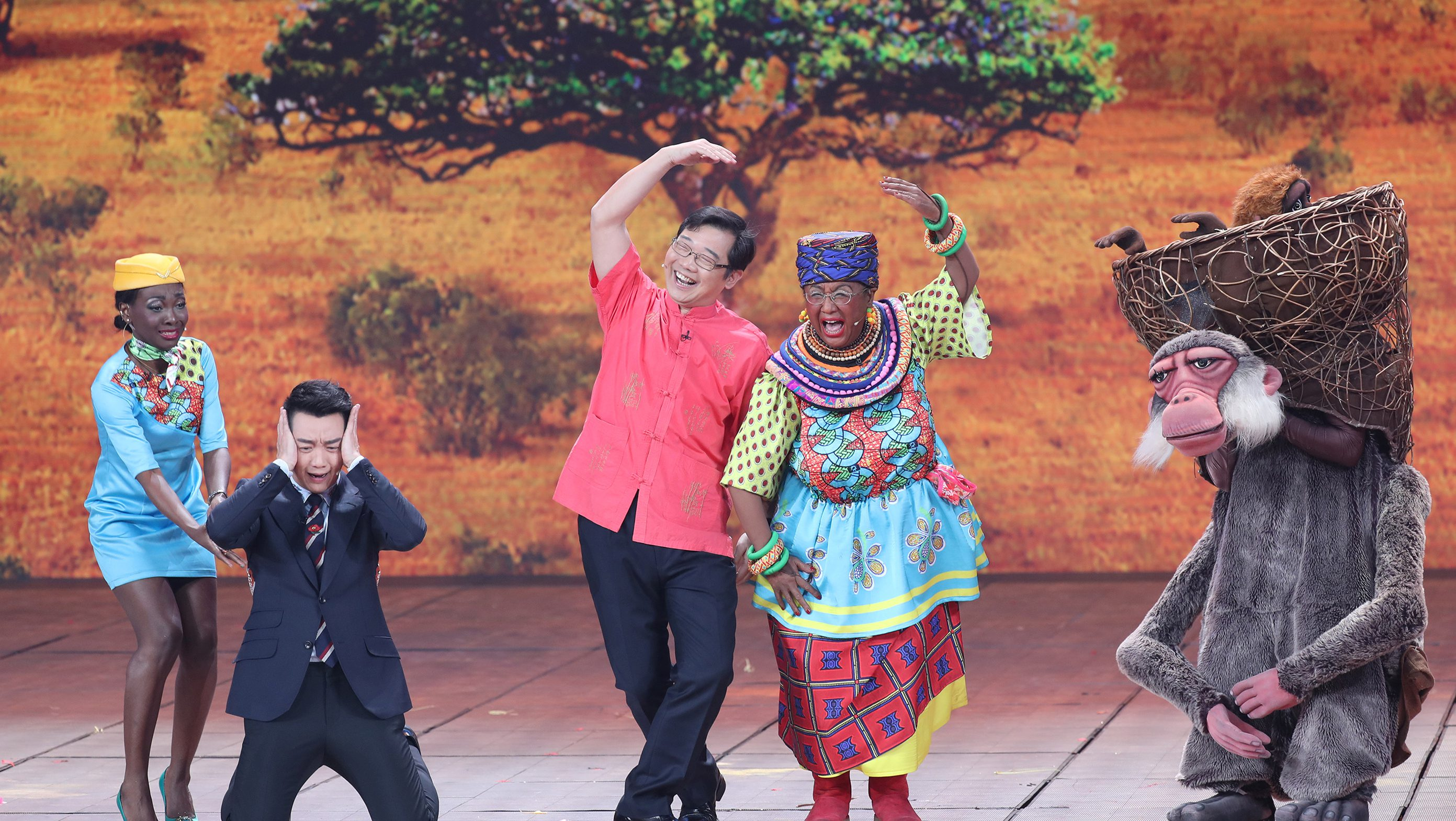 Chinese actor Lou Naiming performs a skit on a Lunar New Year gala in Beijing