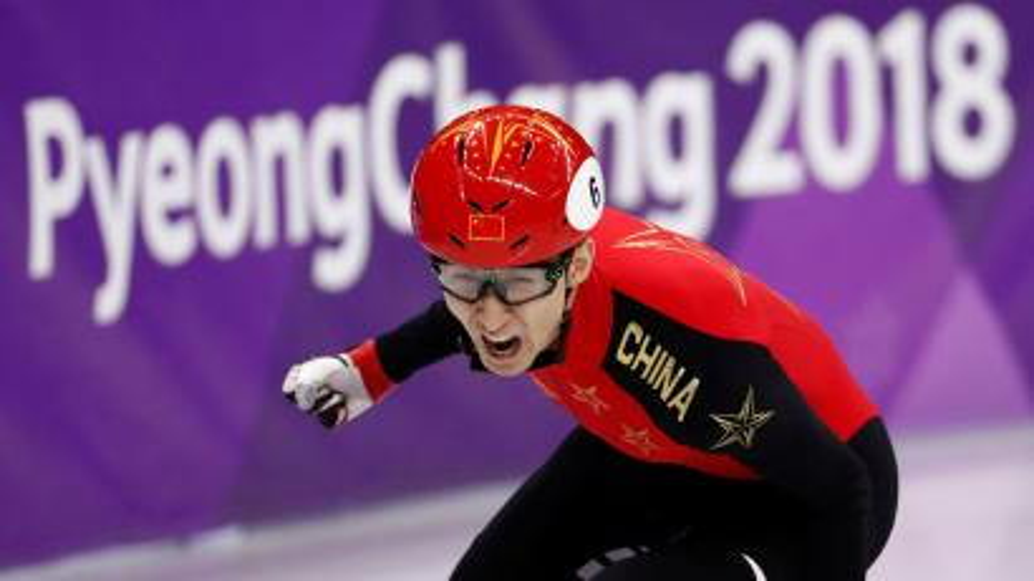 Short Track Speed Skating Events - Pyeongchang 2018 Winter Olympics - Men's 500m Final - Gangneung Ice Arena - Gangneung, South Korea - February 22, 2018 - Wu Dajing of China reacts.