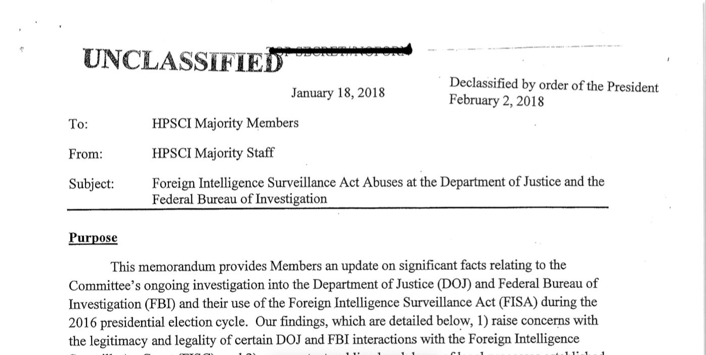 Republican memo on FBI-Russia investigation